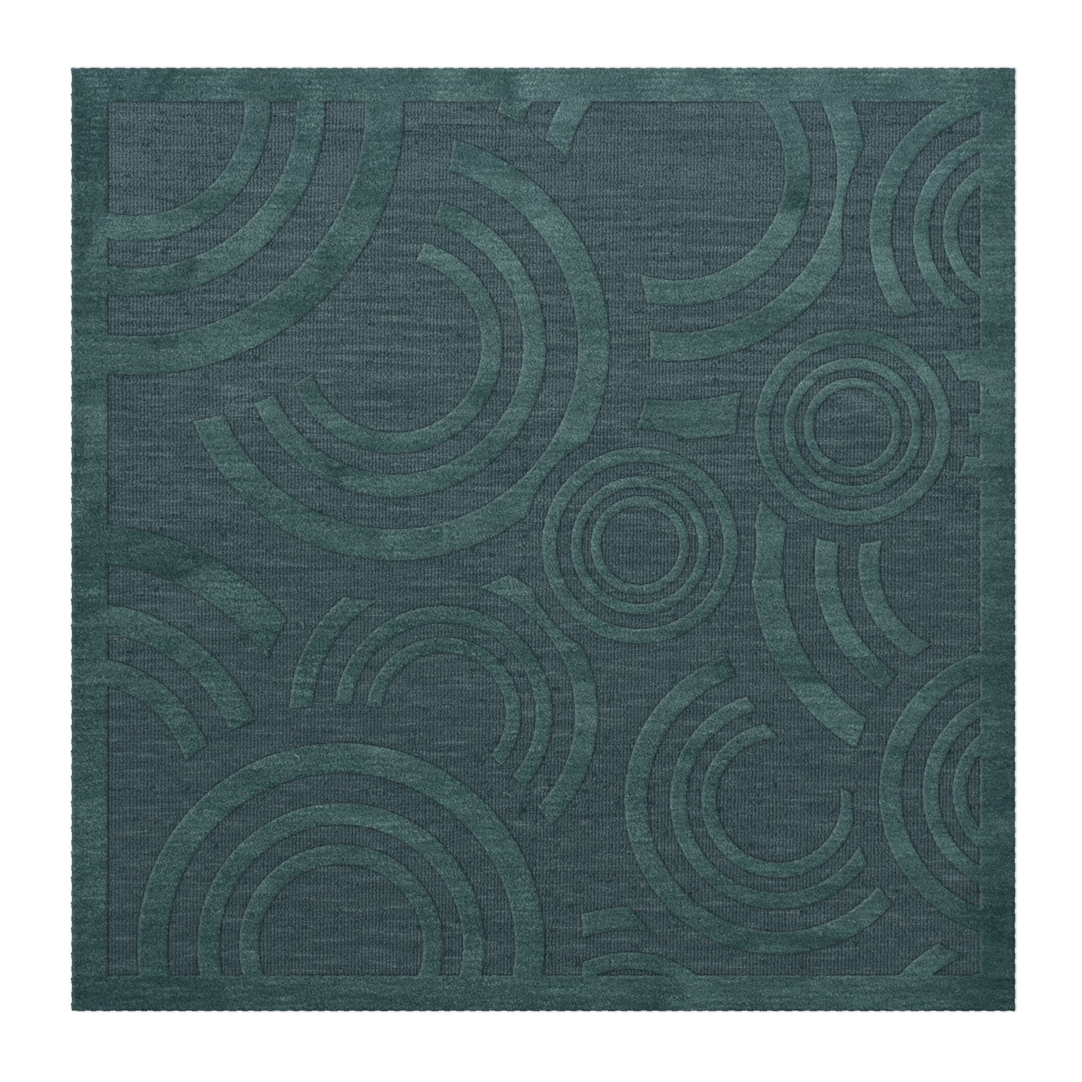 Dover Tufted Wool Teal Area Rug Rug Size: Square 4'
