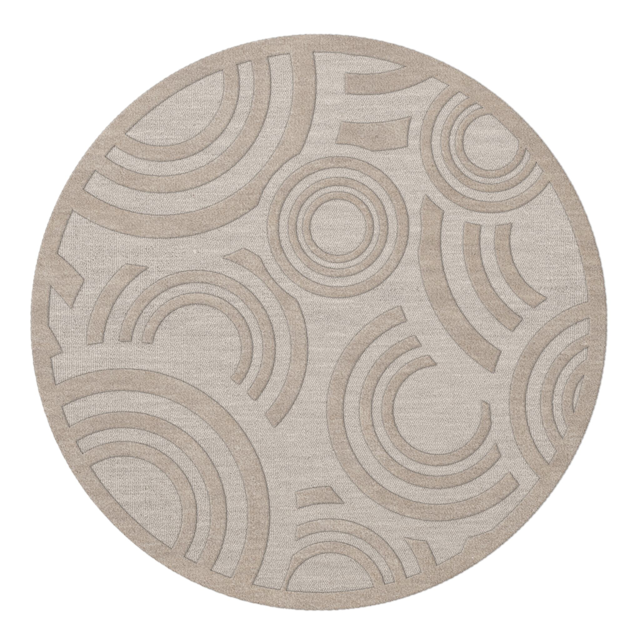 Dover Tufted Wool Putty Area Rug Rug Size: Round 4'