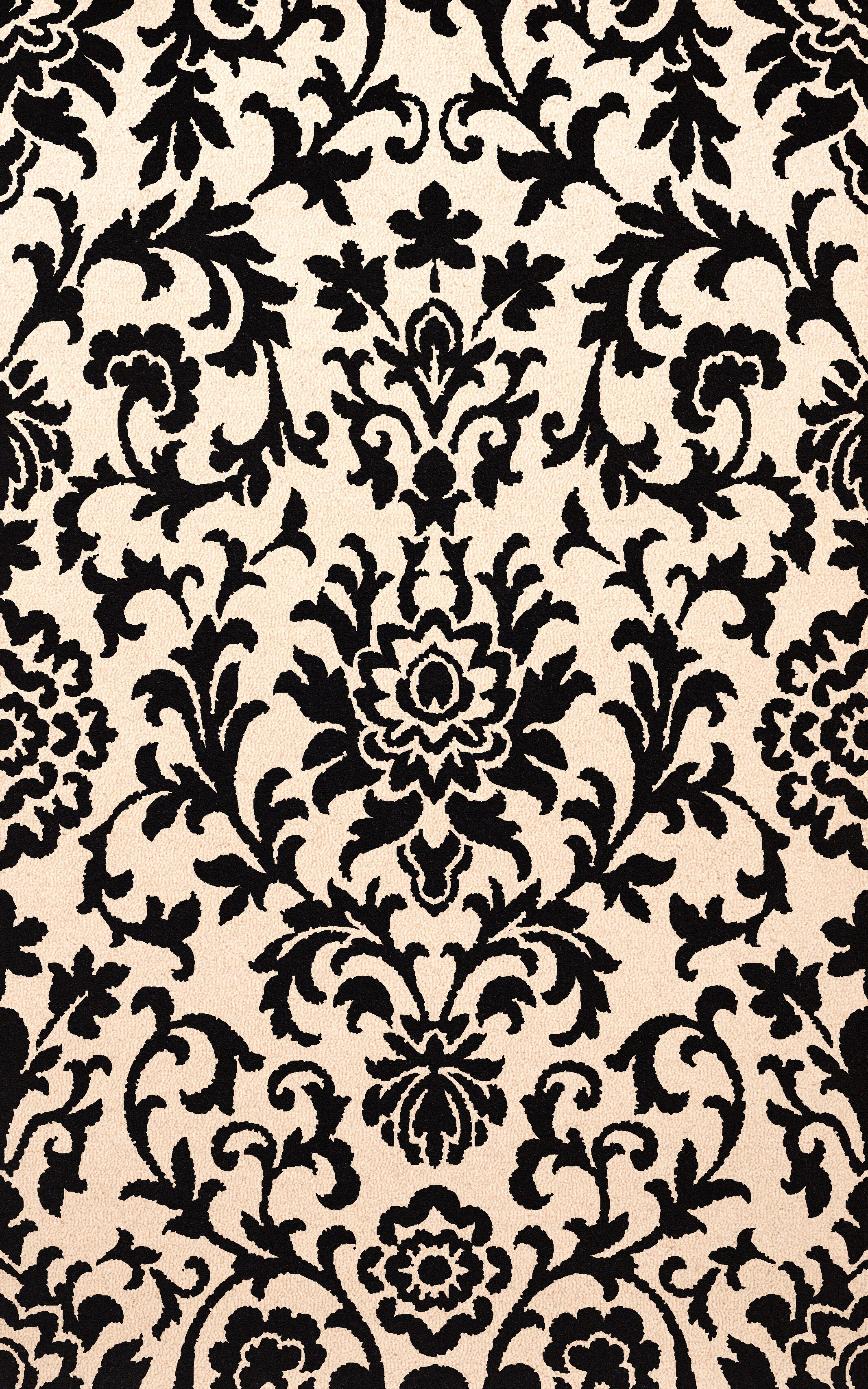 Bella Black/Beige Area Rug Rug Size: Rectangle 6' x 9'