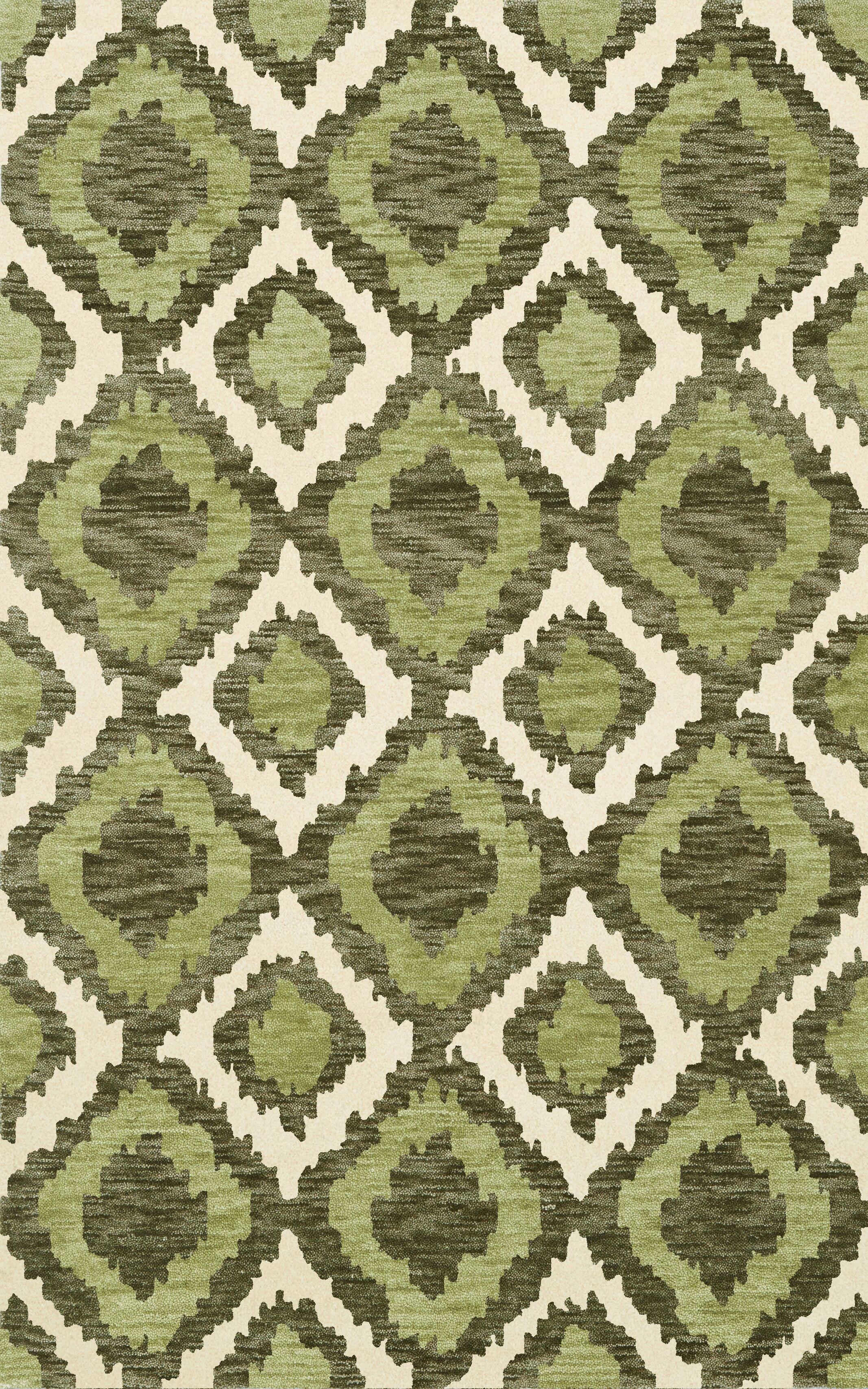 Bella Machine Woven Wool Green Area Rug Rug Size: Rectangle 6' x 9'