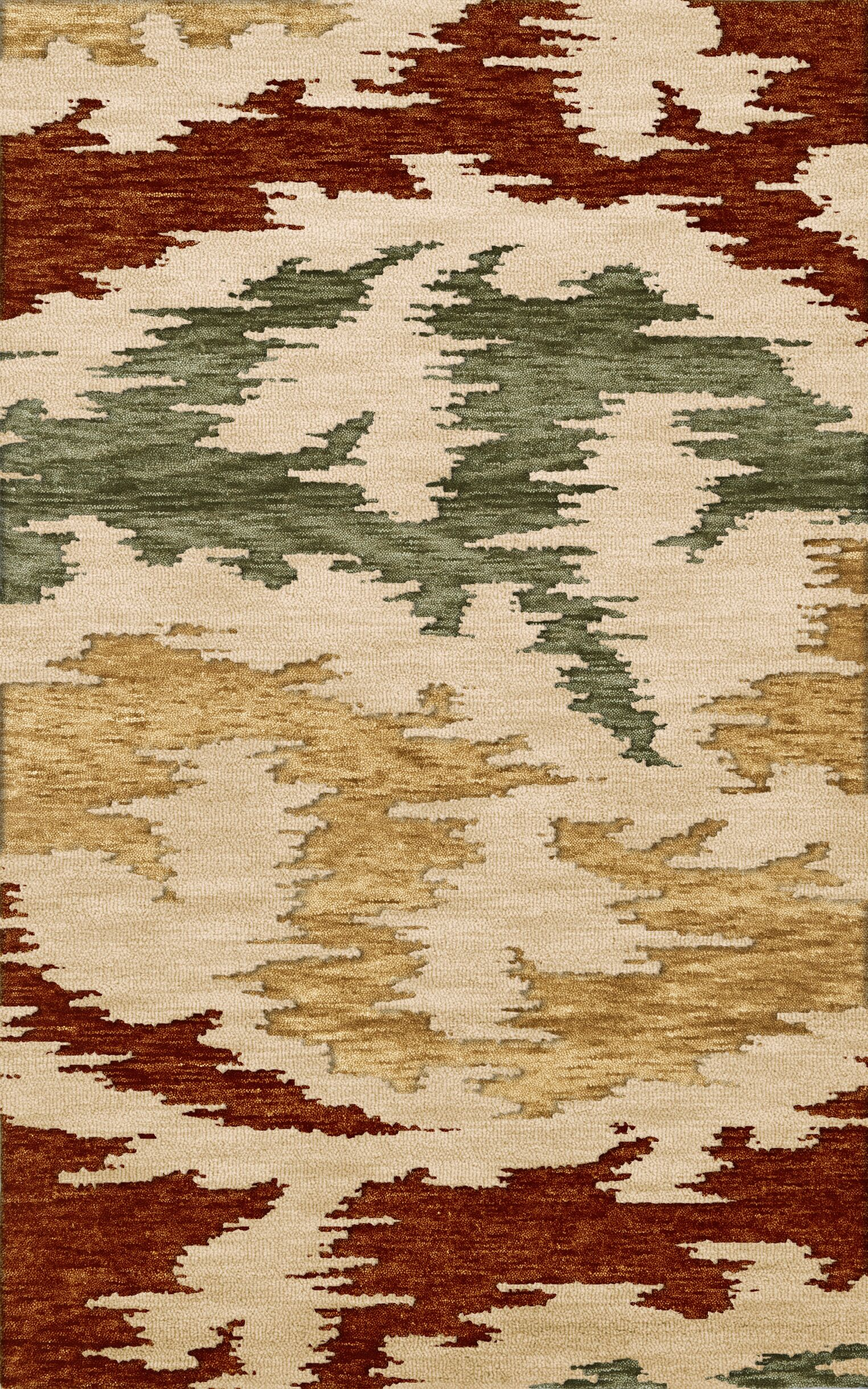 Bella Machine Woven Wool Brown/Green/Beige Area Rug Rug Size: Square 10'