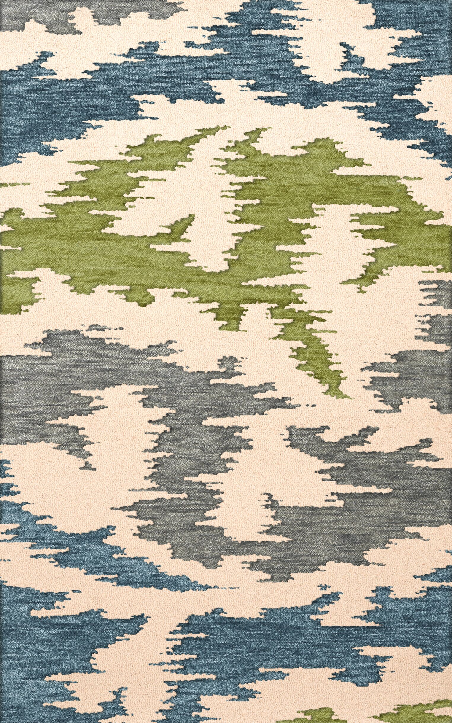 Bella Machine Woven Wool Gray/Blue/Green Area Rug Rug Size: Octagon 8'