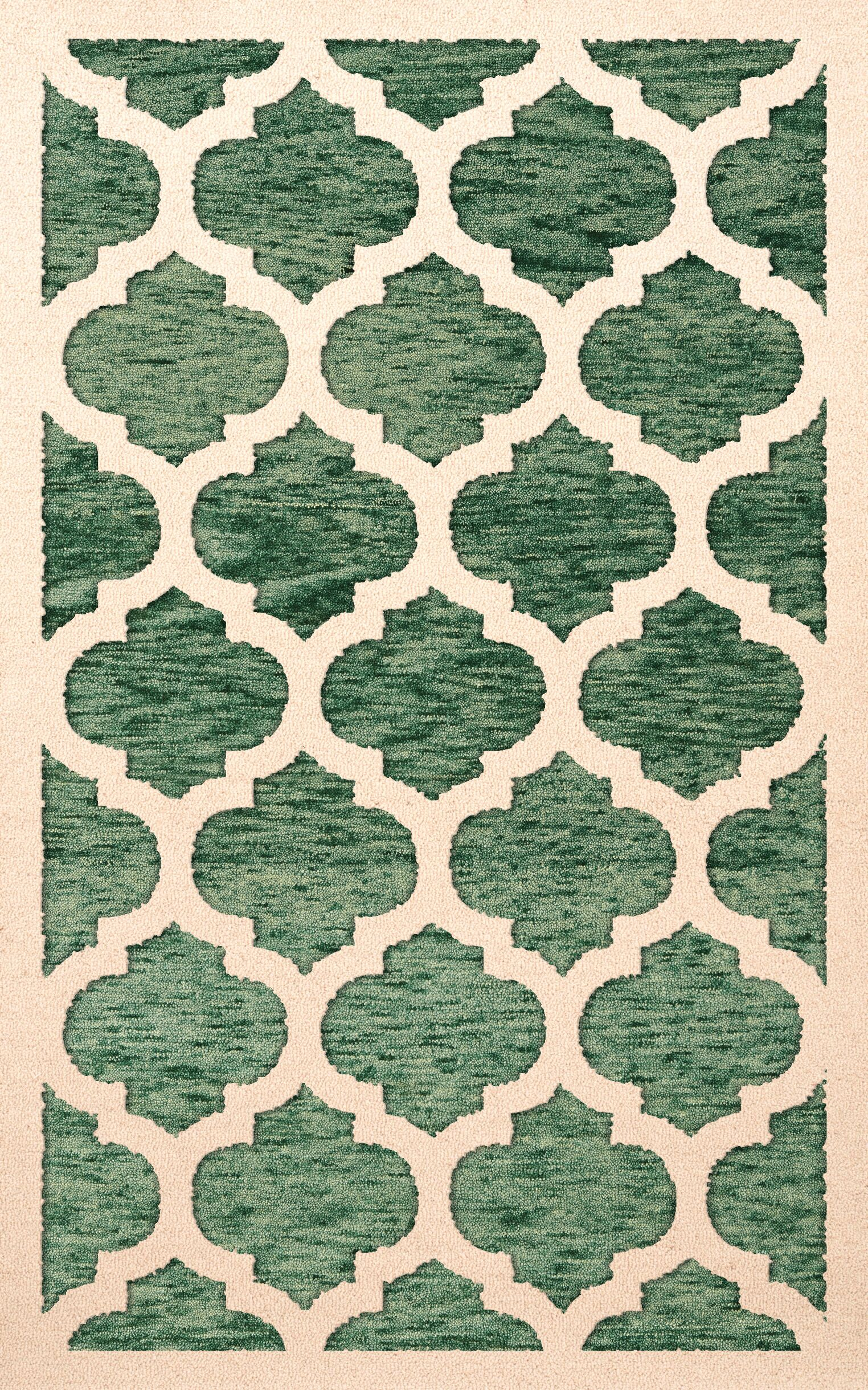 Bella Machine Woven Wool Green/Beige Area Rug Rug Size: Rectangle 12' x 15'