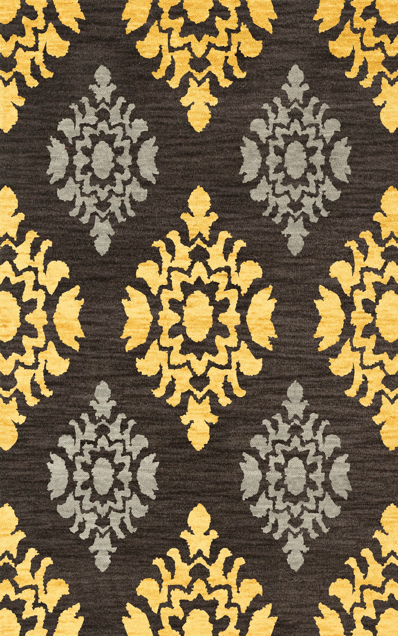 Bella Machine Woven Wool Black/Yellow Area Rug Rug Size: Oval 3' x 5'