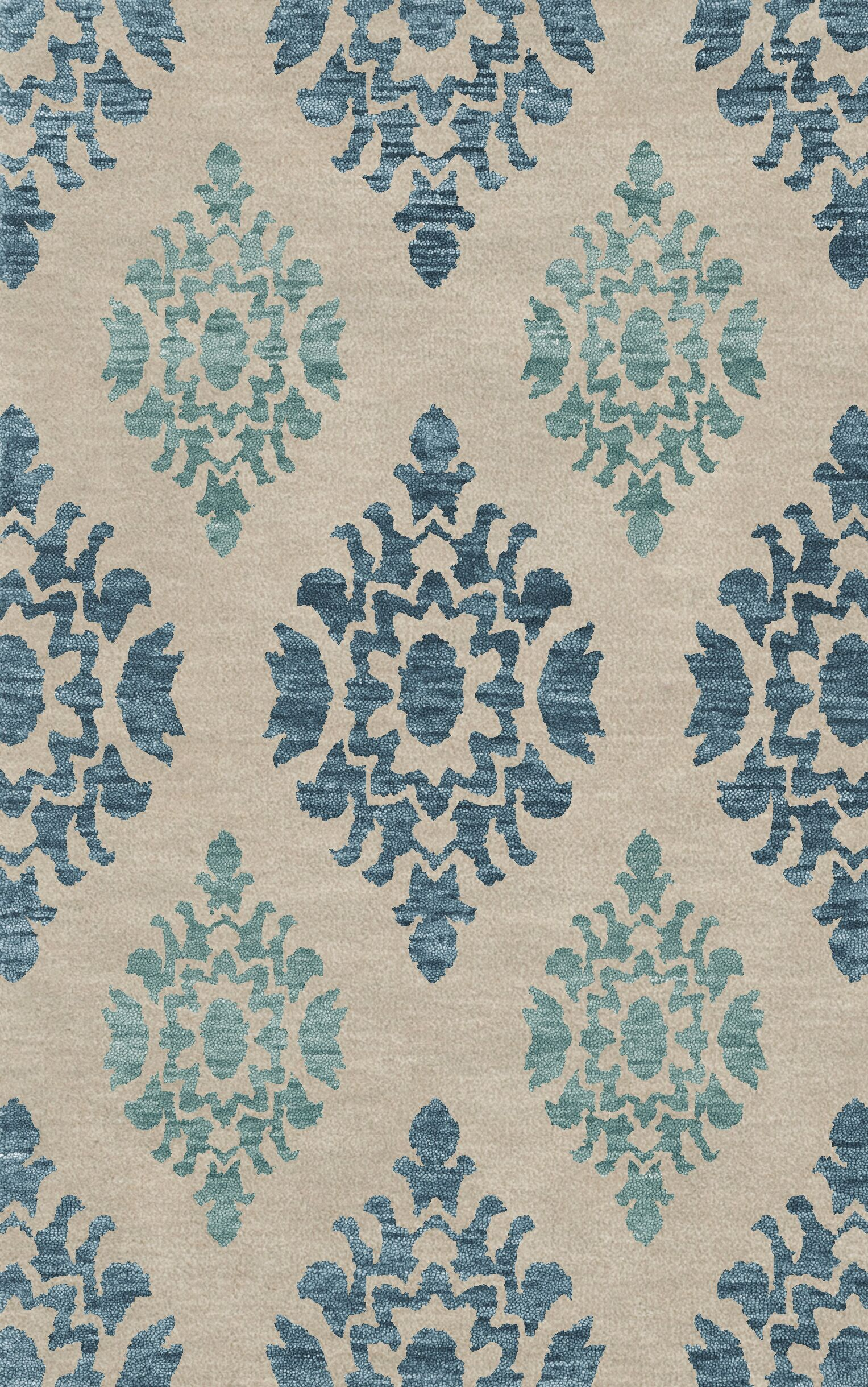 Bella Machine Woven Wool Beige/Blue Area Rug Rug Size: Square 4'