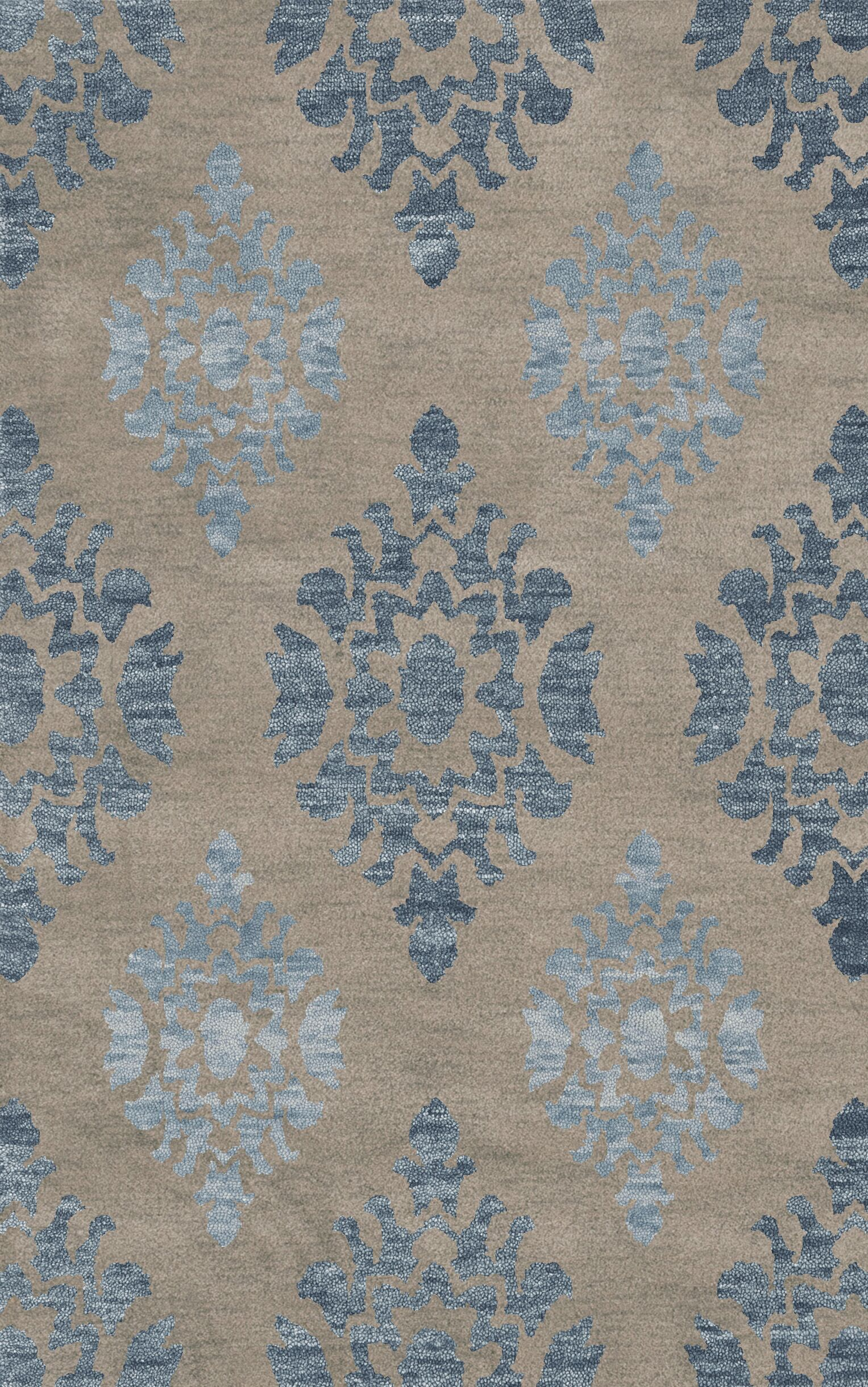 Bella Machine Woven Wool Gray/Blue Area Rug Rug Size: Square 10'