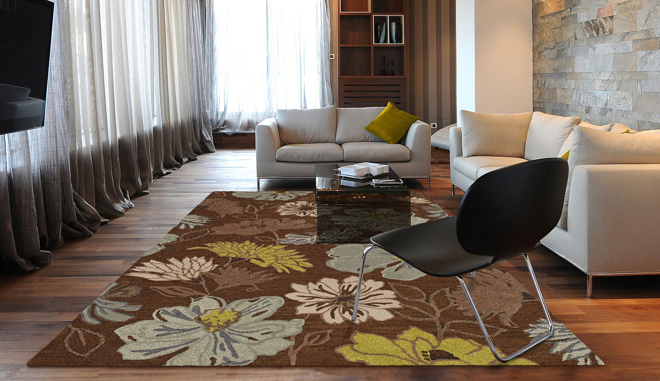 Ambiance Hand Tufted Wool Chocolate Area Rug Rug Size: Rectangle 9' x 13'