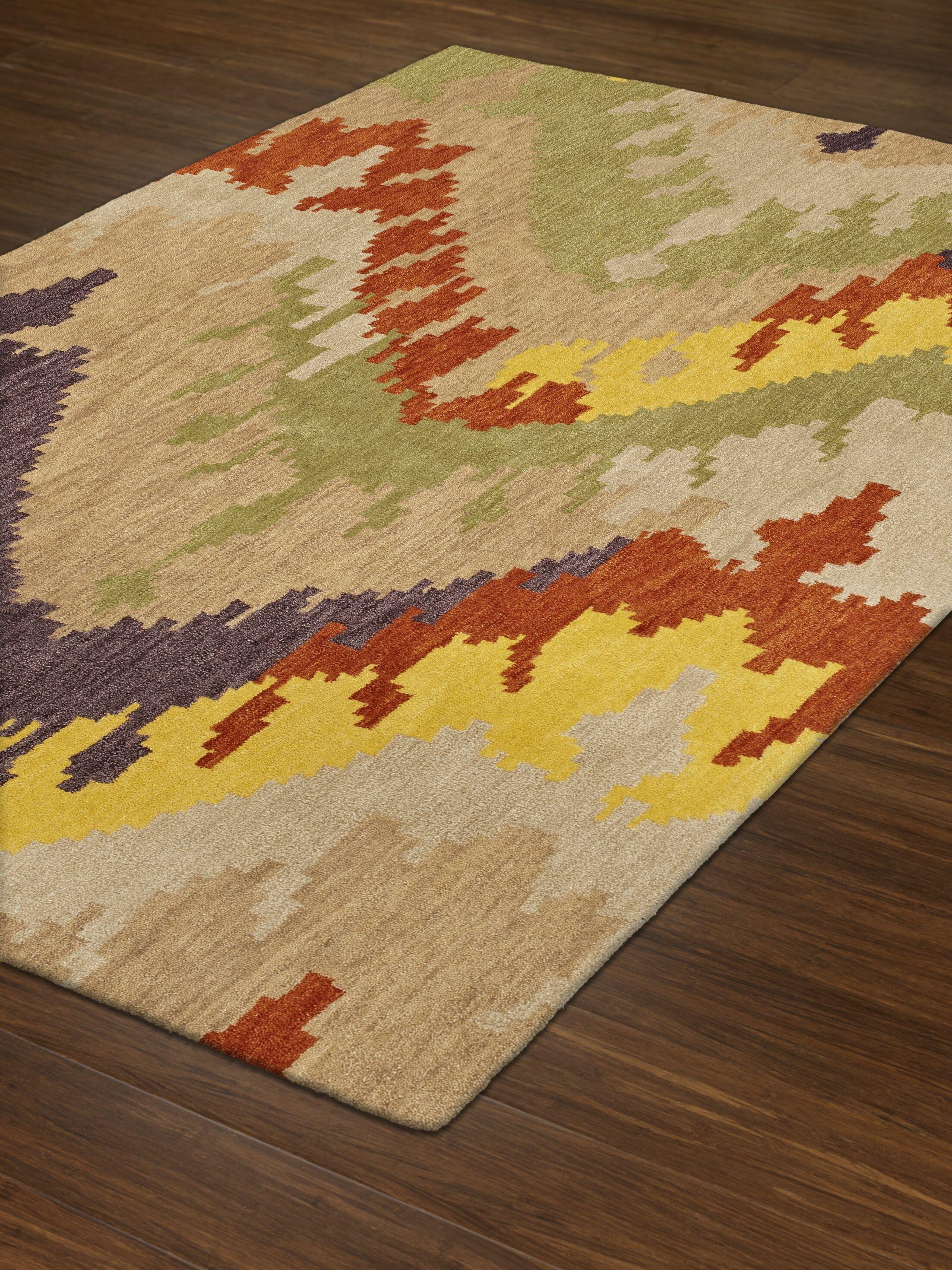 Impulse Wool/Silk Ivory/Yellow Area Rug Rug Size: Rectangle 9' x 13'