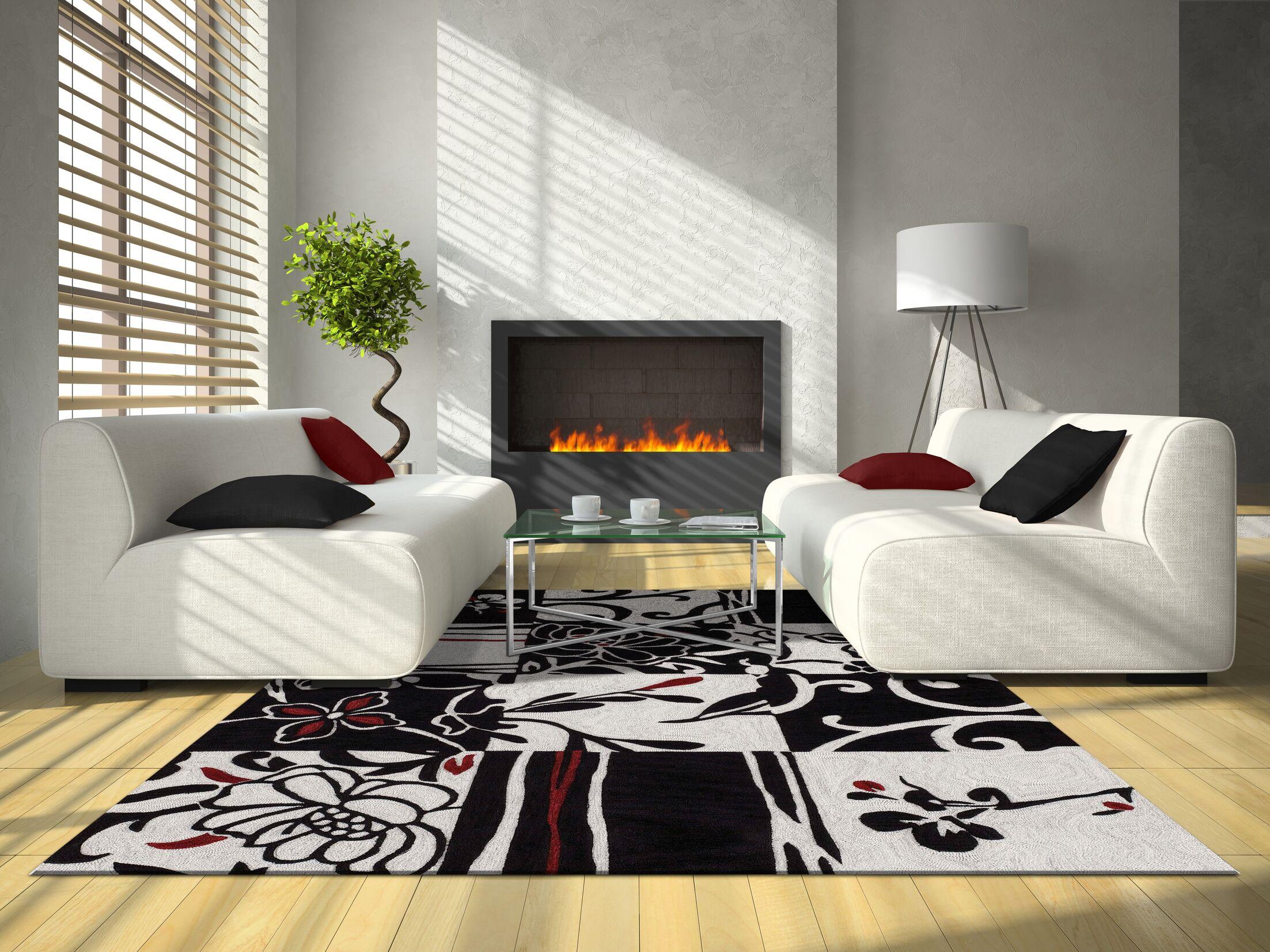 Studio Patchwork Black Area Rug Rug Size: Rectangle 9' x 13'