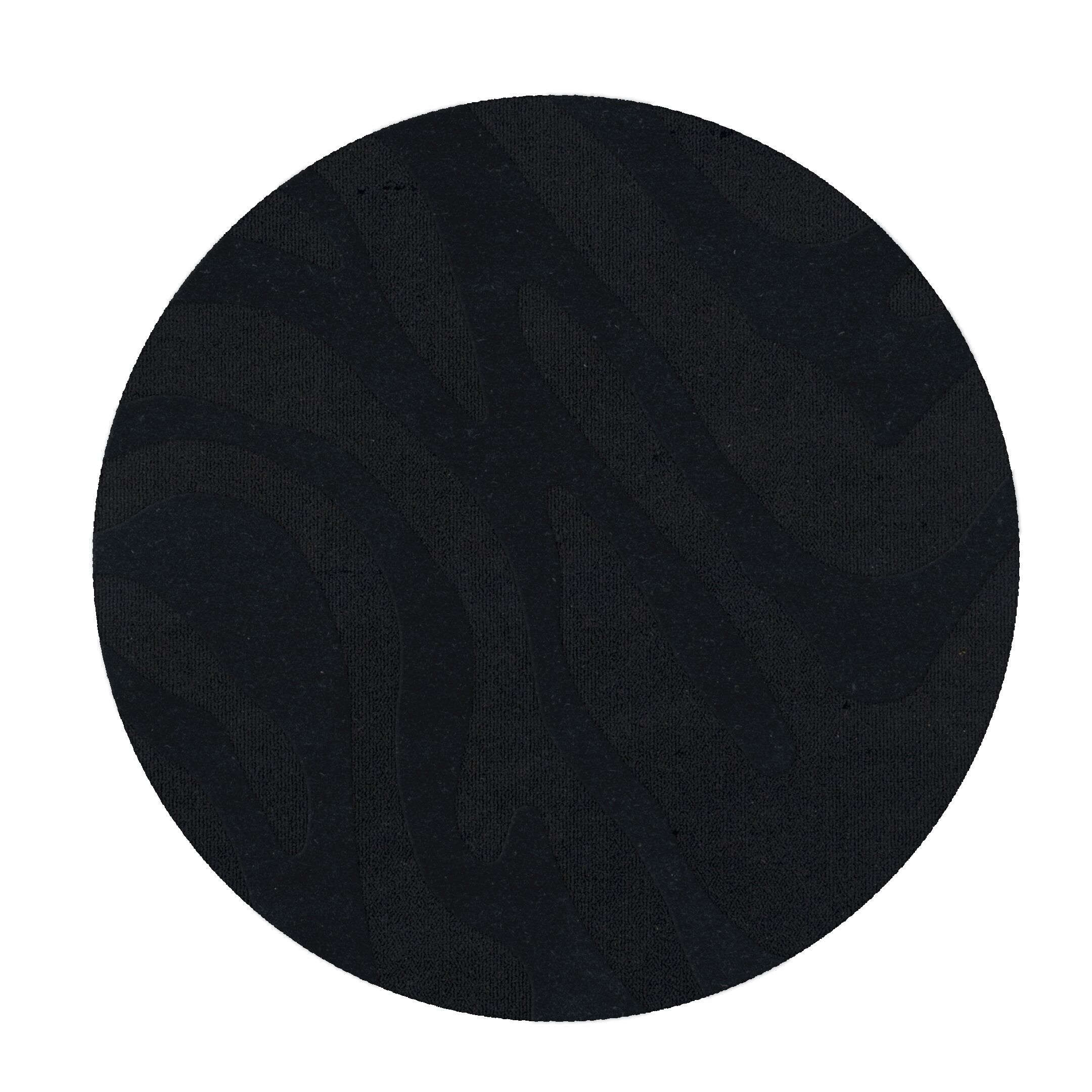 Dover Tufted Wool Black Area Rug Rug Size: Round 12'