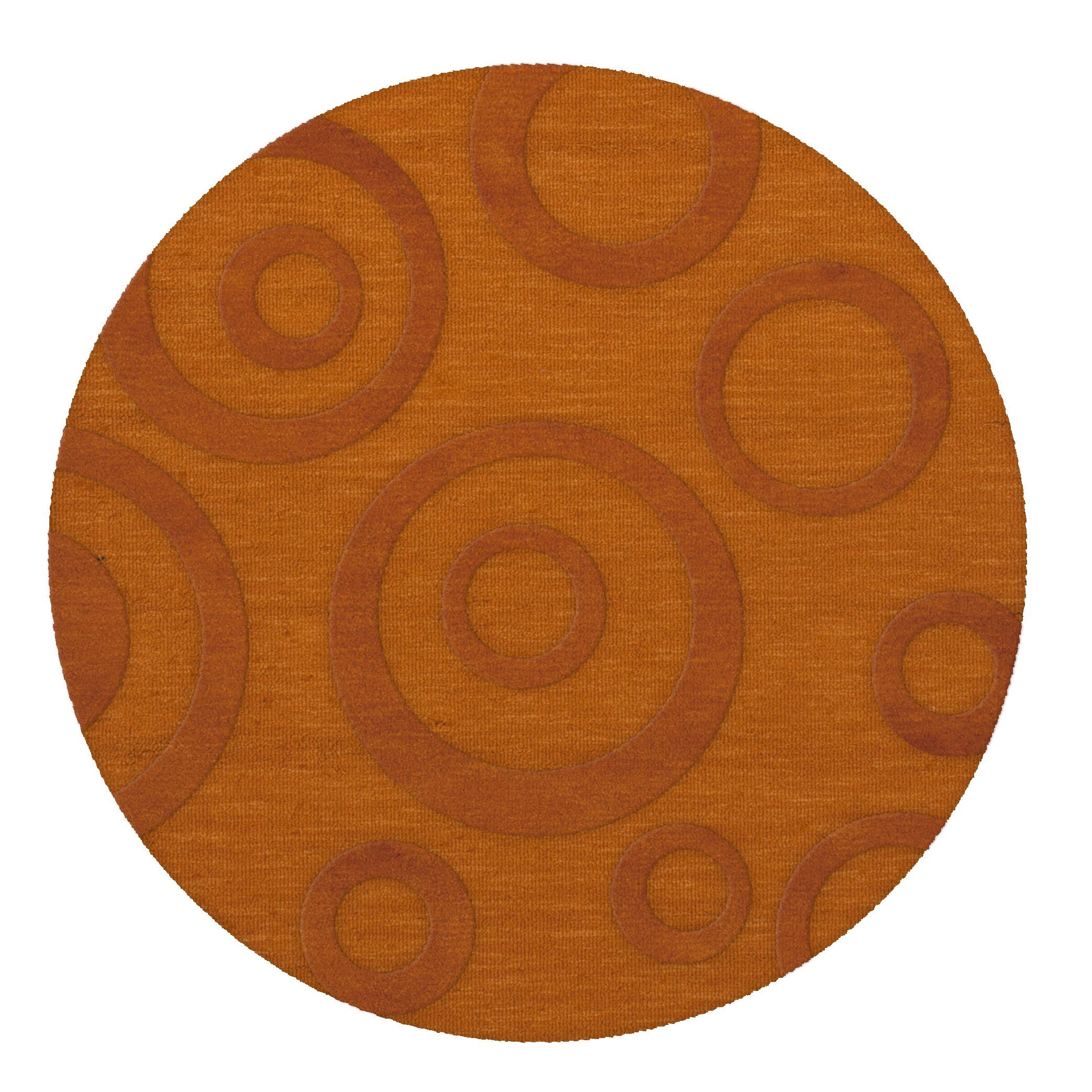 Dover Tufted Wool Orange Area Rug Rug Size: Round 6'