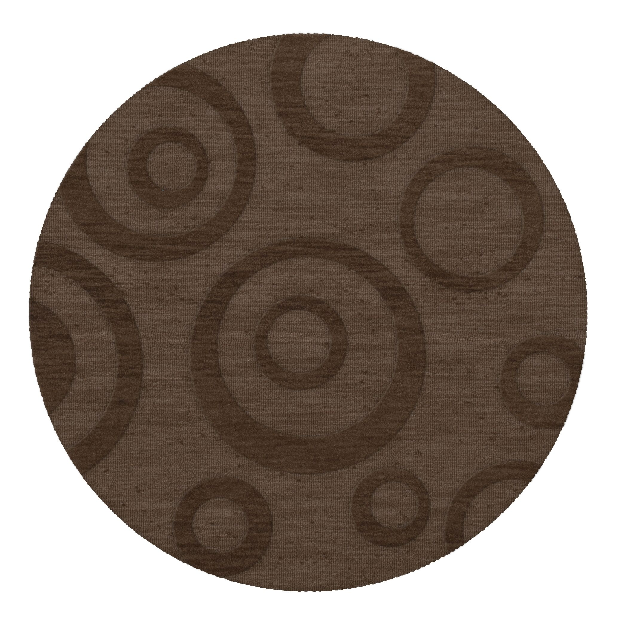 Dover Tufted Wool Mocha Area Rug Rug Size: Round 12'