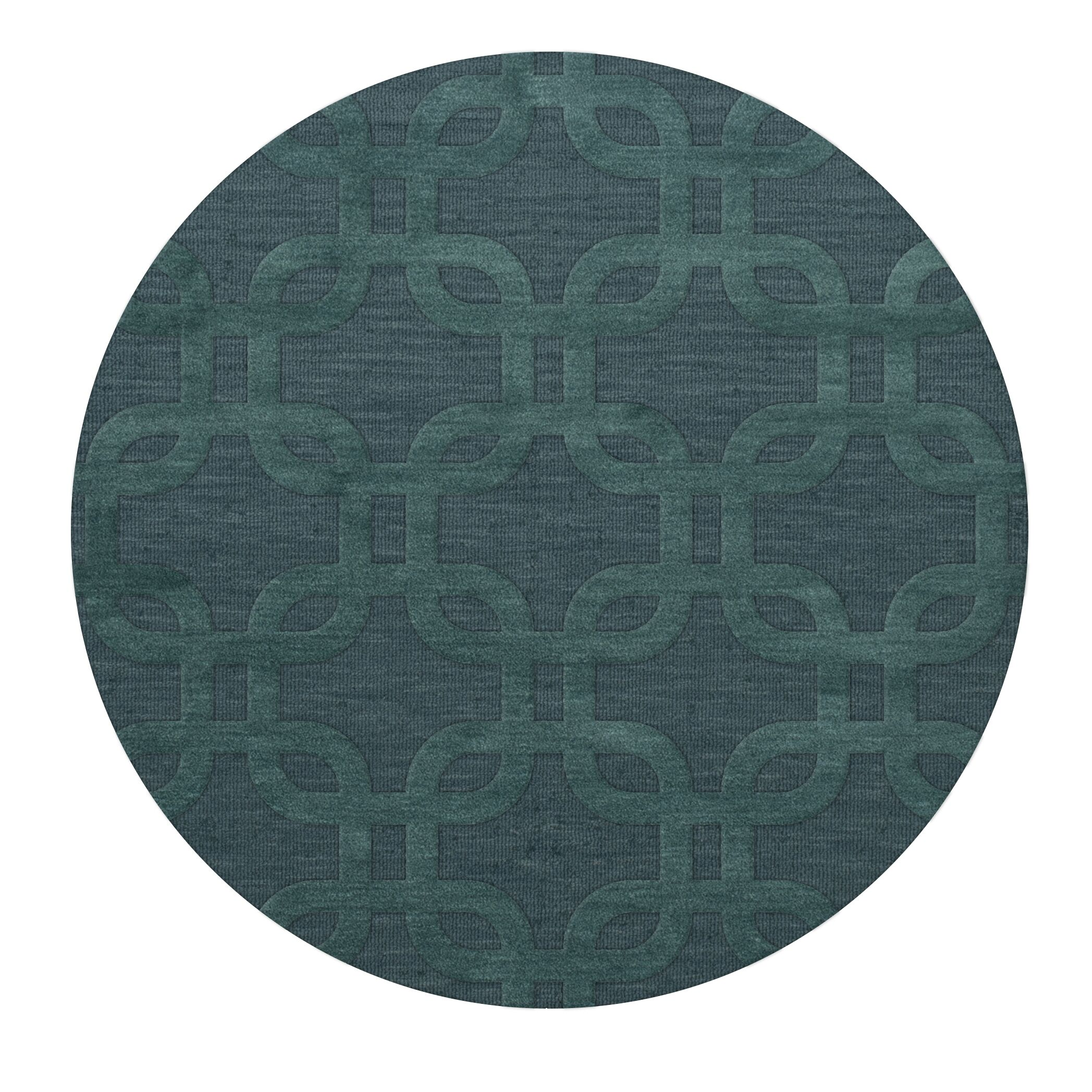 Dover Teal Area Rug Rug Size: Round 8'