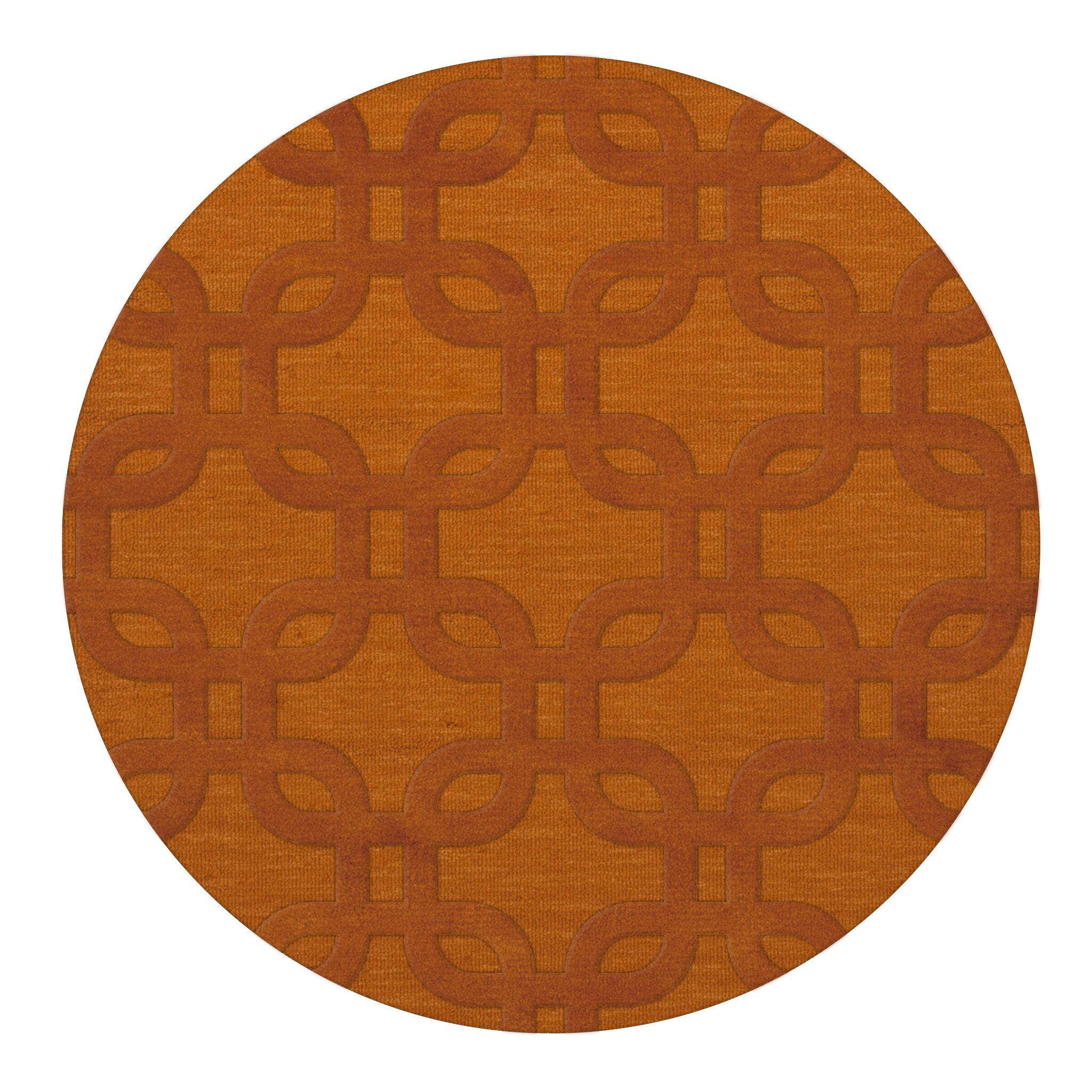 Dover Orange Area Rug Rug Size: Round 6'