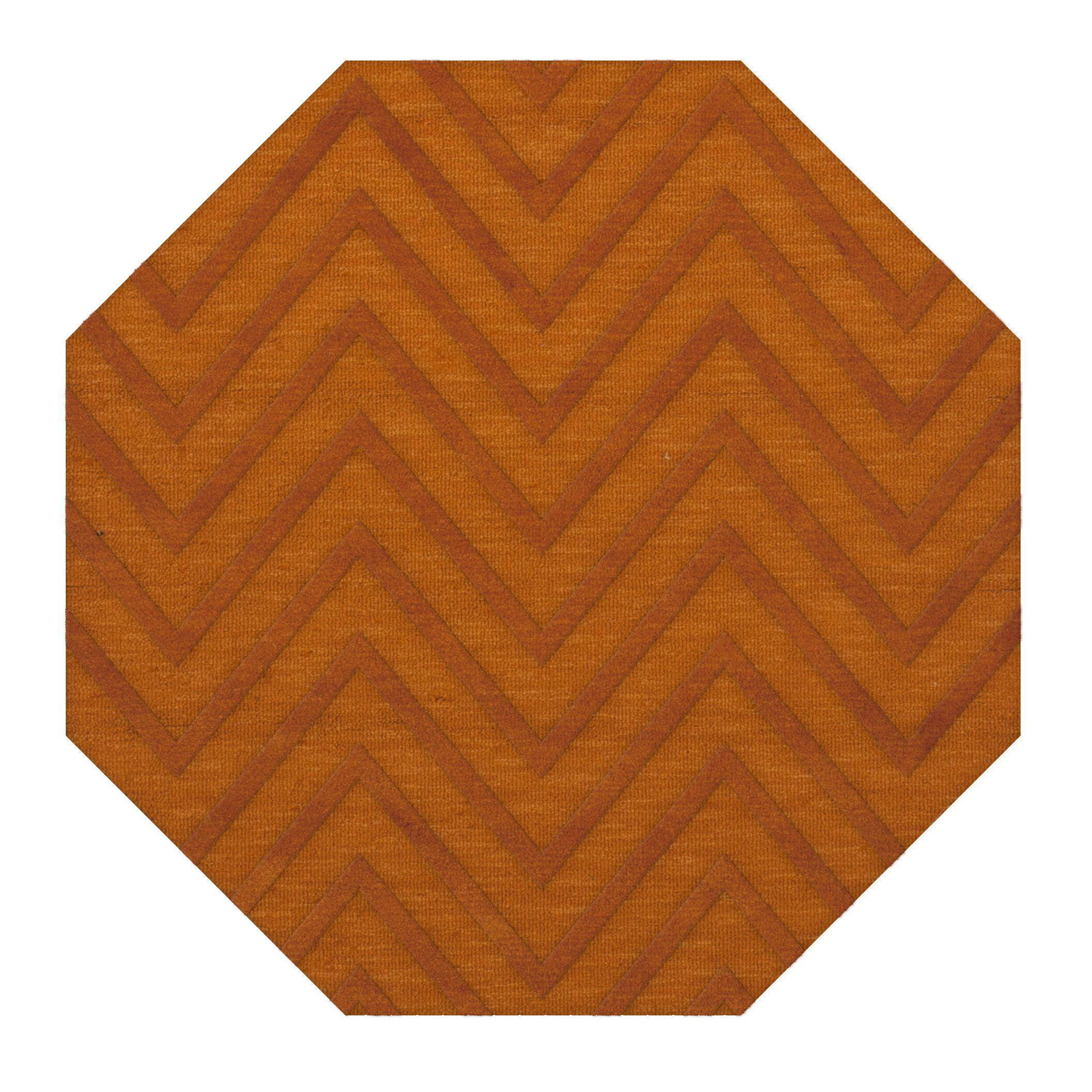 Dover Tufted Wool Orange Area Rug Rug Size: Octagon 10'