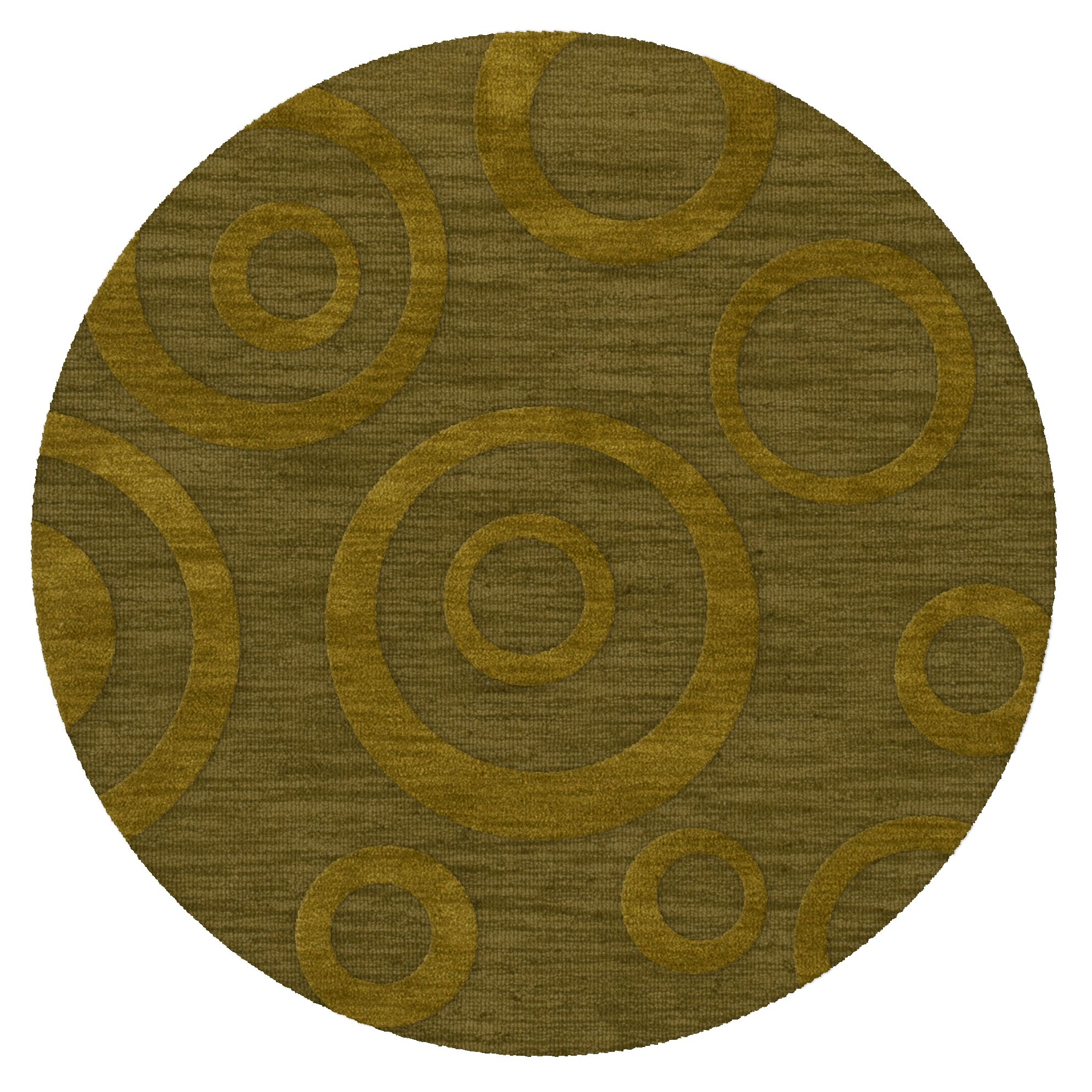 Dover Tufted Wool Avocado Area Rug Rug Size: Round 8'