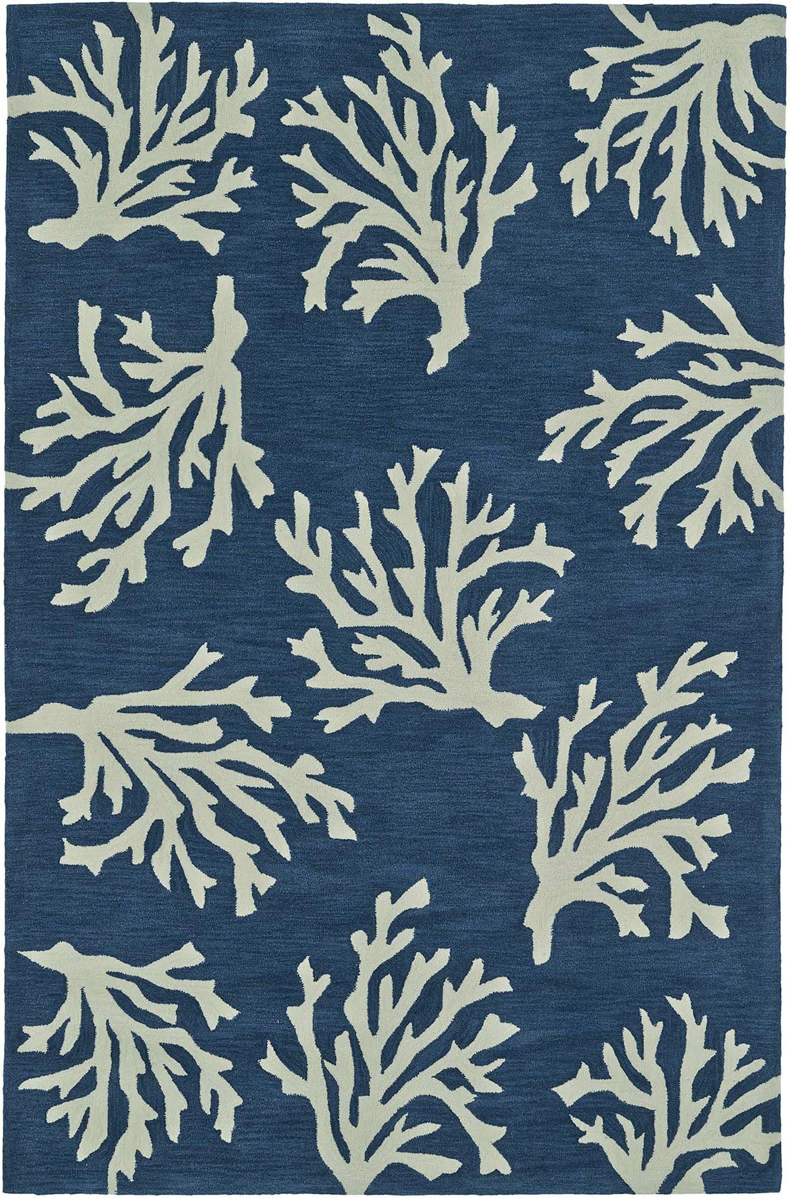 Bovina Hand-Tufted Blue/Ivory Area Rug Rug Size: Rectangle 8' x 10'