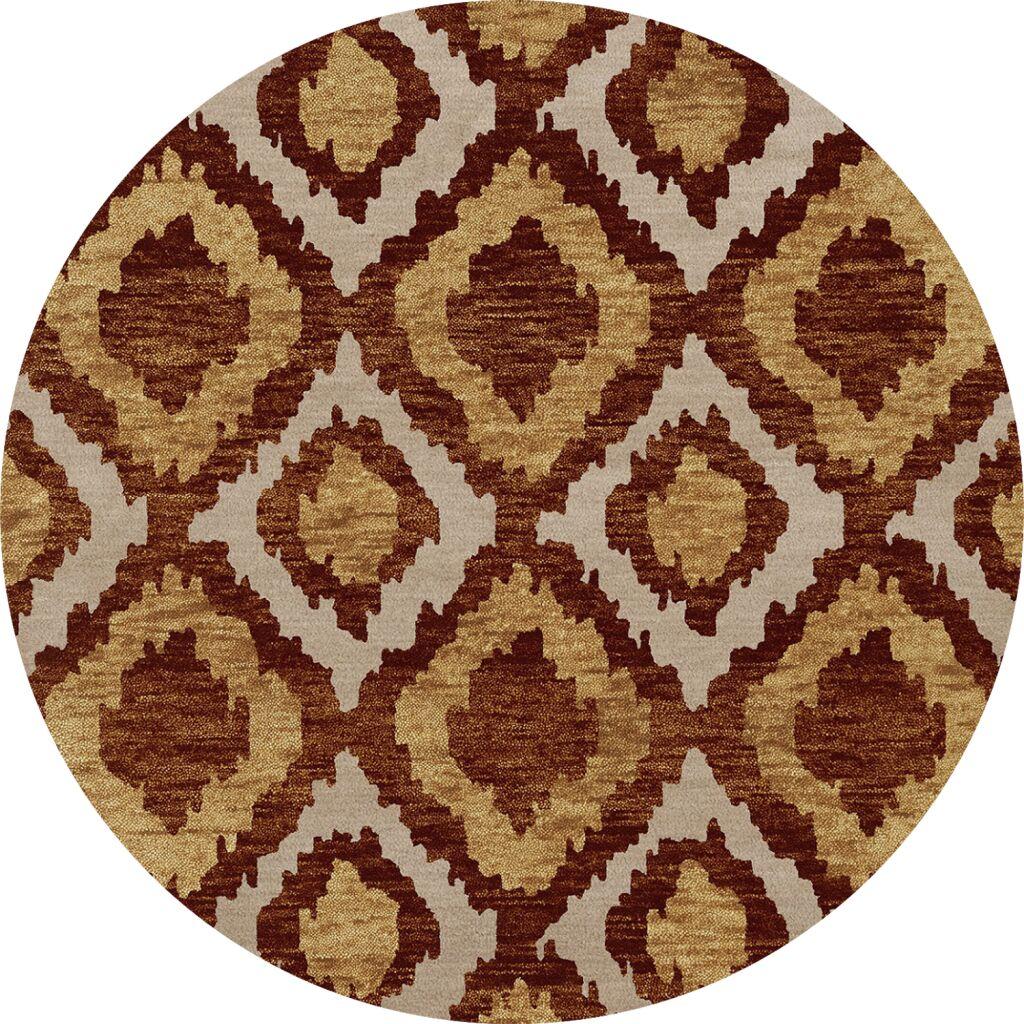 Bella Machine Woven Wool Brown/Beige Area Rug Rug Size: Round 6'