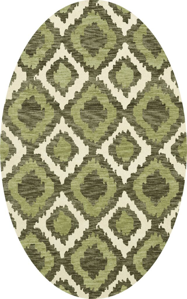 Bella Machine Woven Wool Green Area Rug Rug Size: Oval 12' x 15'