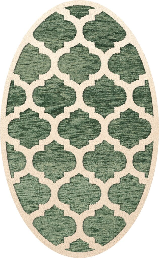 Bella Machine Woven Wool Green/Beige Area Rug Rug Size: Oval 5' x 8'