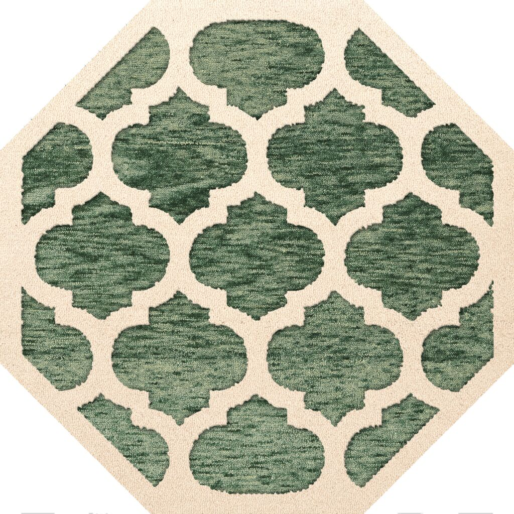 Bella Machine Woven Wool Green/Beige Area Rug Rug Size: Octagon 4'