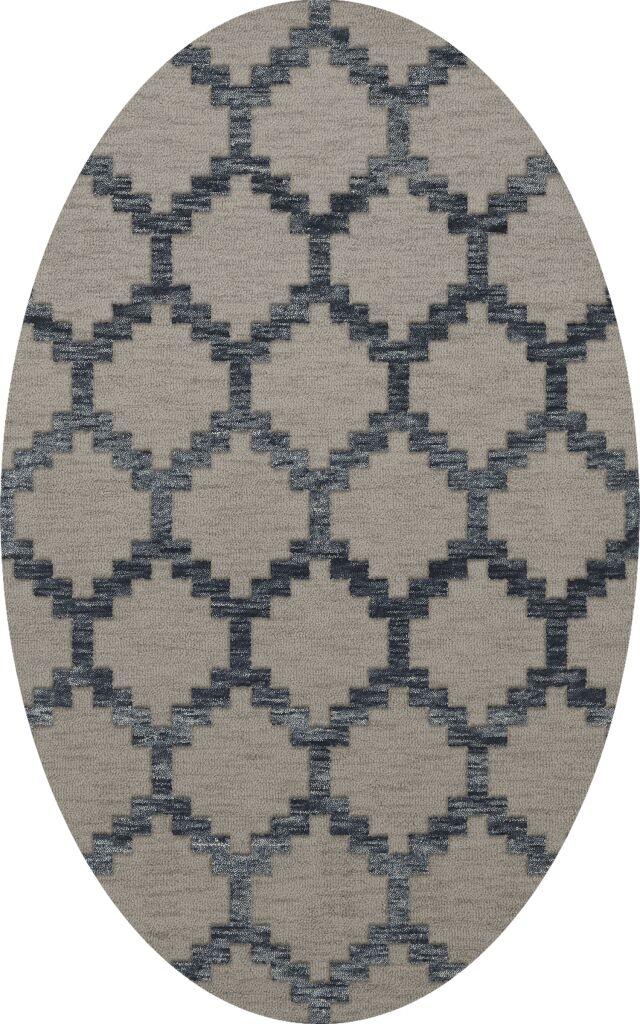 Bella Machine Woven Wool Gray Area Rug Rug Size: Oval 8' x 10'