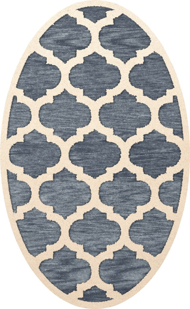 Bella Machine Woven Wool Blue/Beige Area Rug Rug Size: Oval 3' x 5'