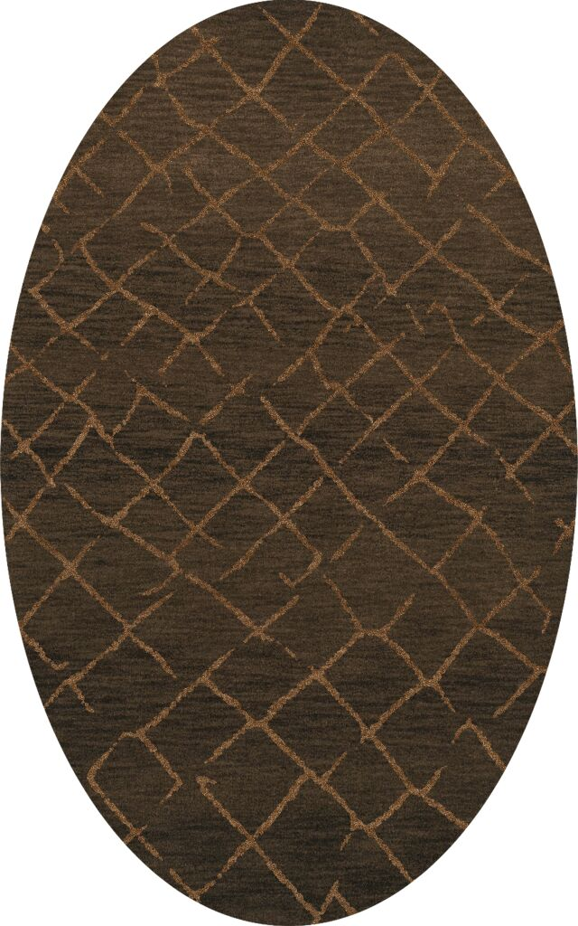 Bella Machine Woven Wool Brown Area Rug Rug Size: Oval 9' x 12'