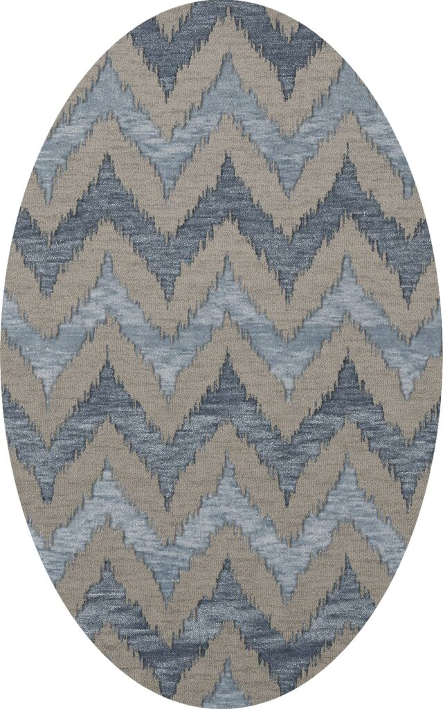 Bella Machine Woven Wool Gray Area Rug Rug Size: Oval 9' x 12'