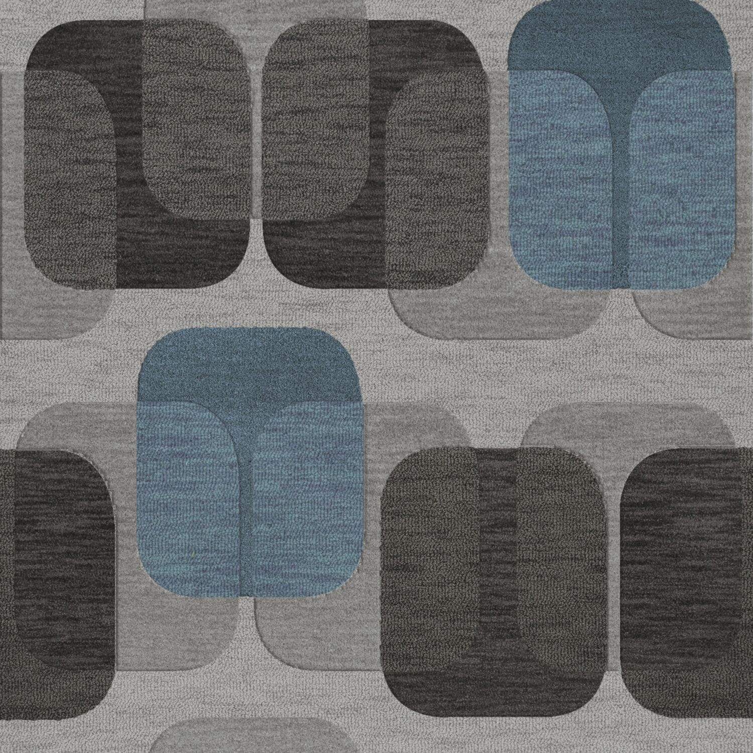Bella Machine Woven Wool Gray/Black Area Rug Rug Size: Square 8'