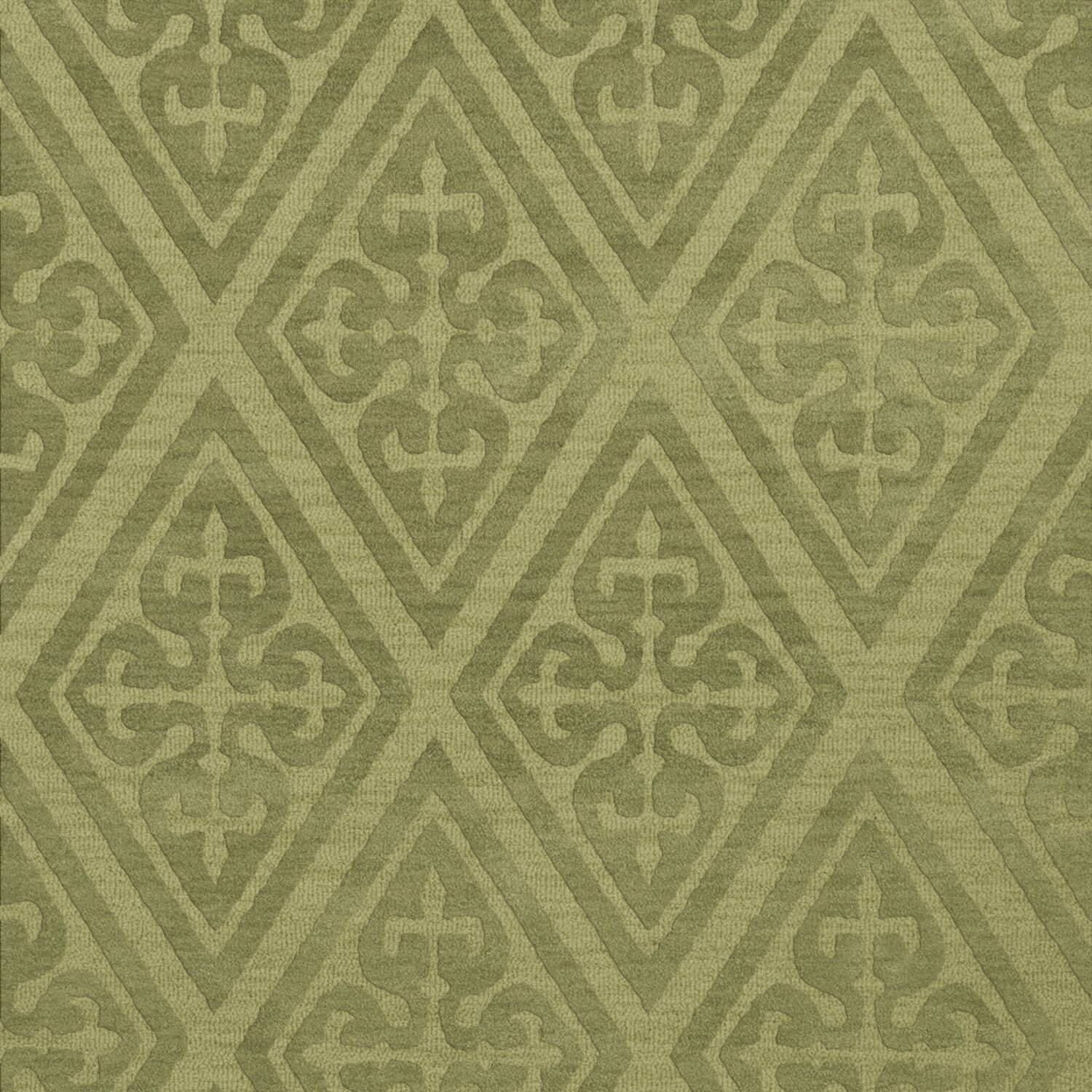 Bella Machine Woven Wool Green Area Rug Rug Size: Square 6'
