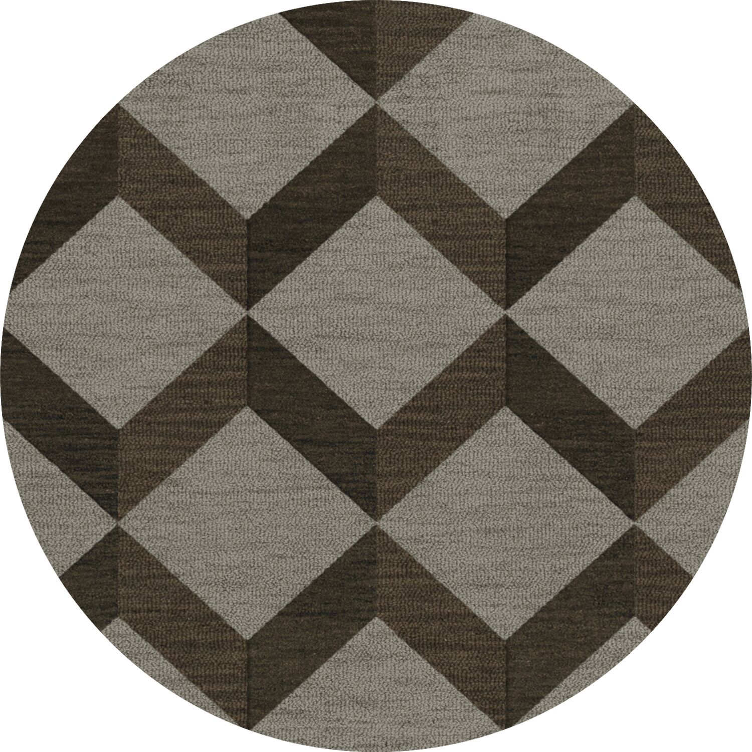 Bella Machine Woven Wool Brown/Gray Area Rug Rug Size: Round 12'