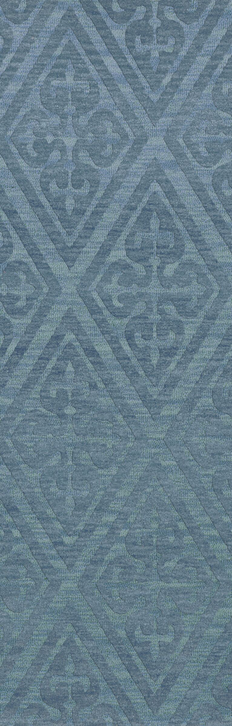 Bella Machine Woven Wool Blue Area Rug Rug Size: Runner 2'6
