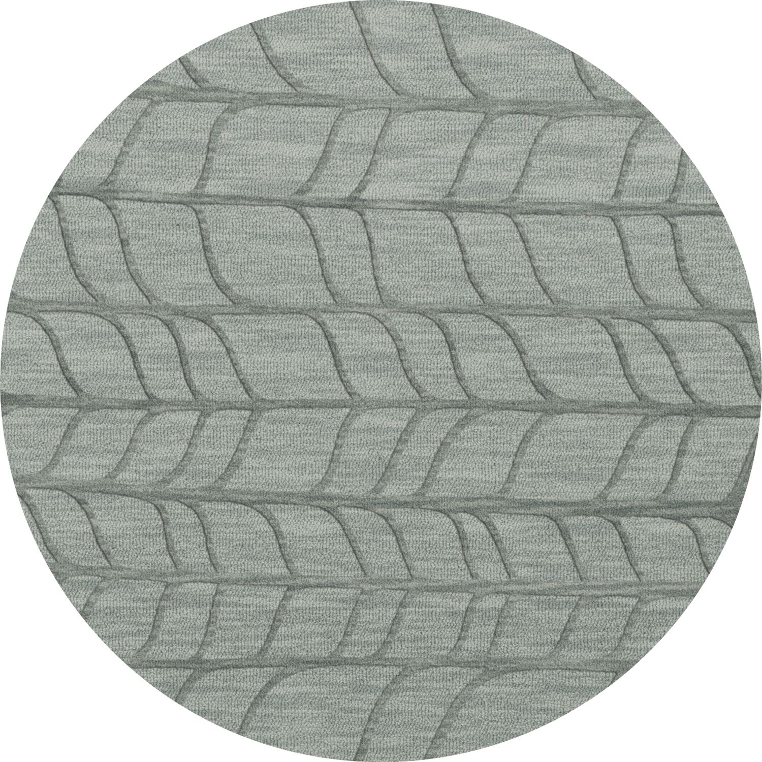 Bella Machine Woven Wool Gray Area Rug Rug Size: Round 12'
