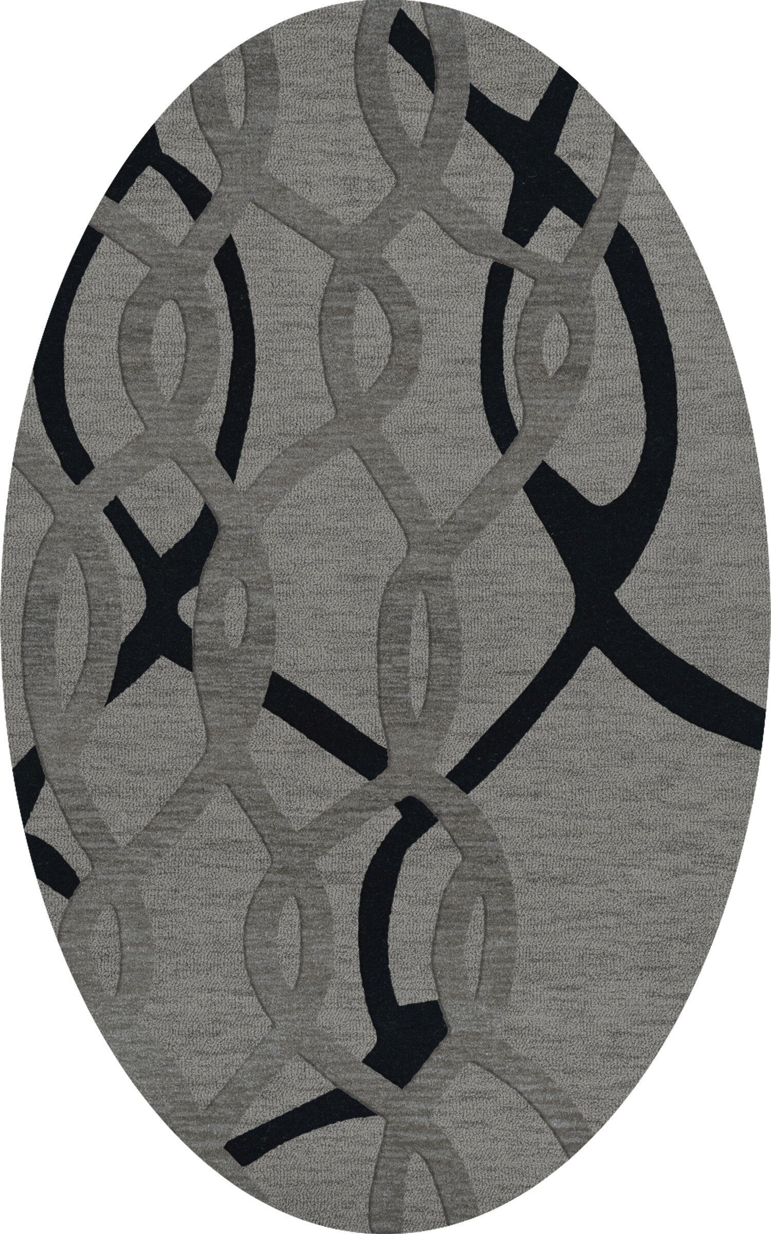Bella Machine Woven Wool Gray Area Rug Rug Size: Oval 5' x 8'