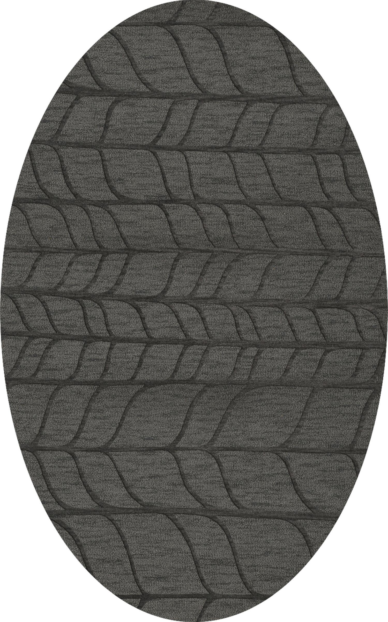 Bella Machine Woven Wool Gray Area Rug Rug Size: Oval 6' x 9'