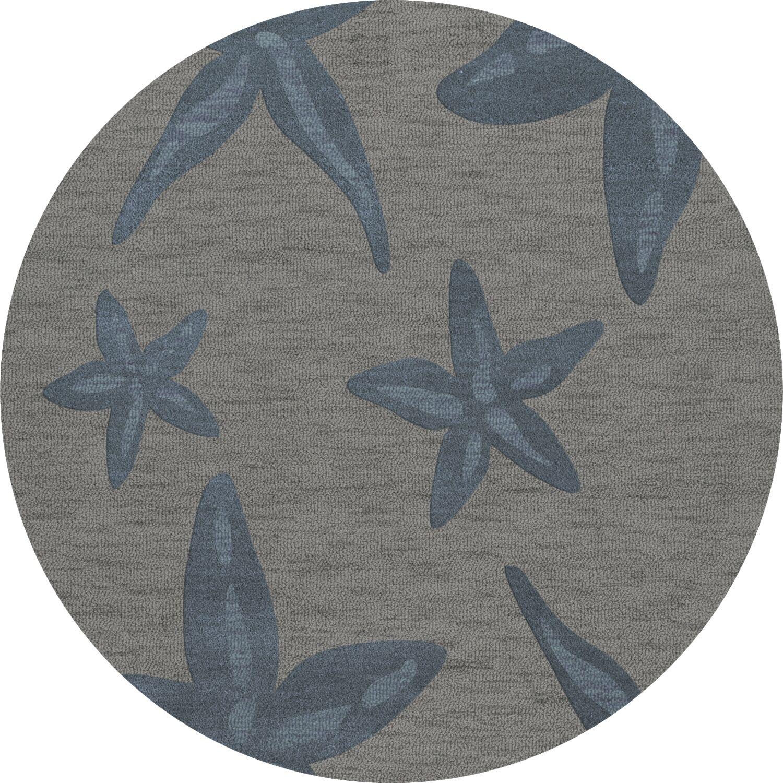 Bella Gray/Blue Area Rug Rug Size: Round 4'