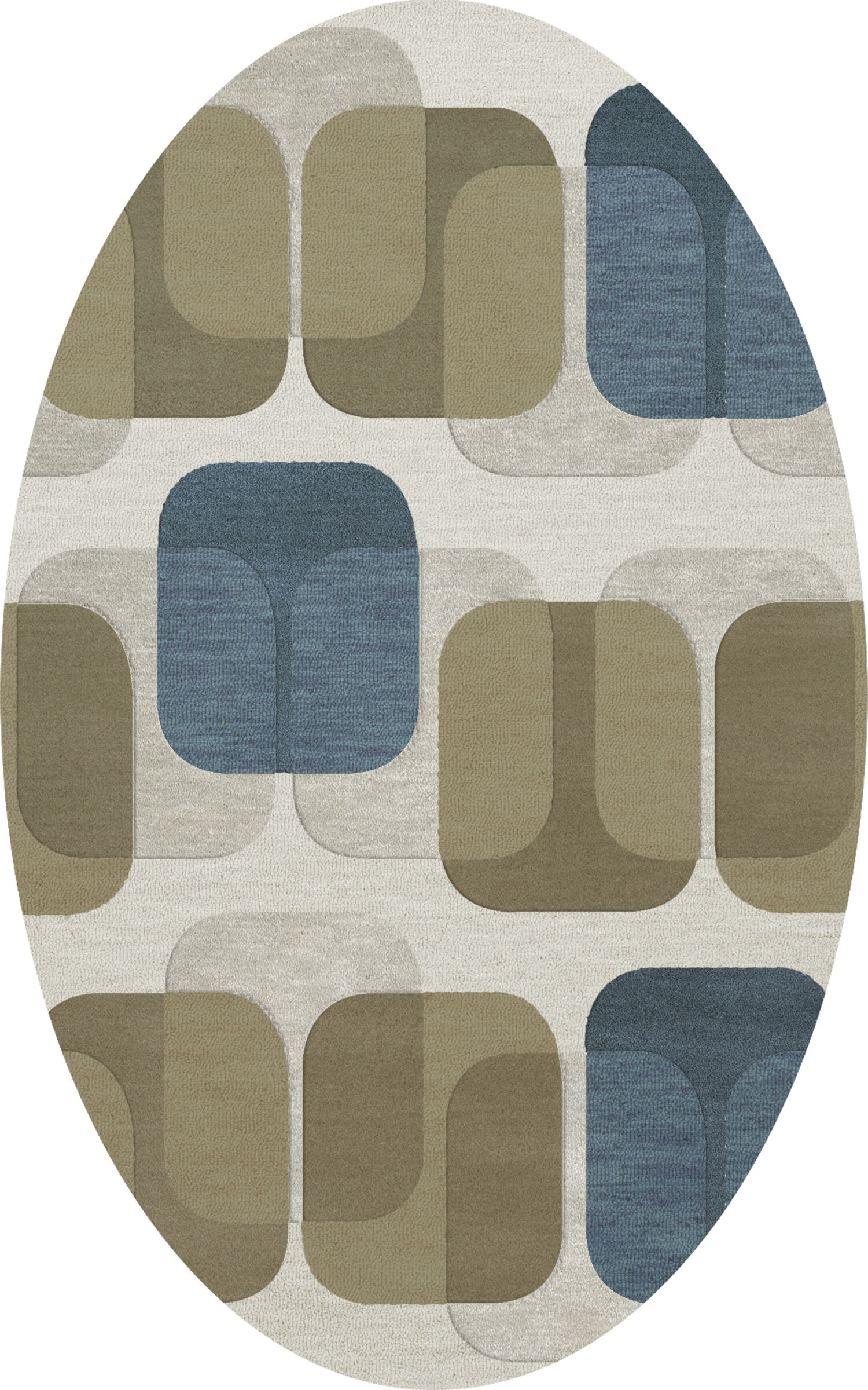 Bella Machine Woven Wool Gray/Brown Area Rug Rug Size: Oval 5' x 8'
