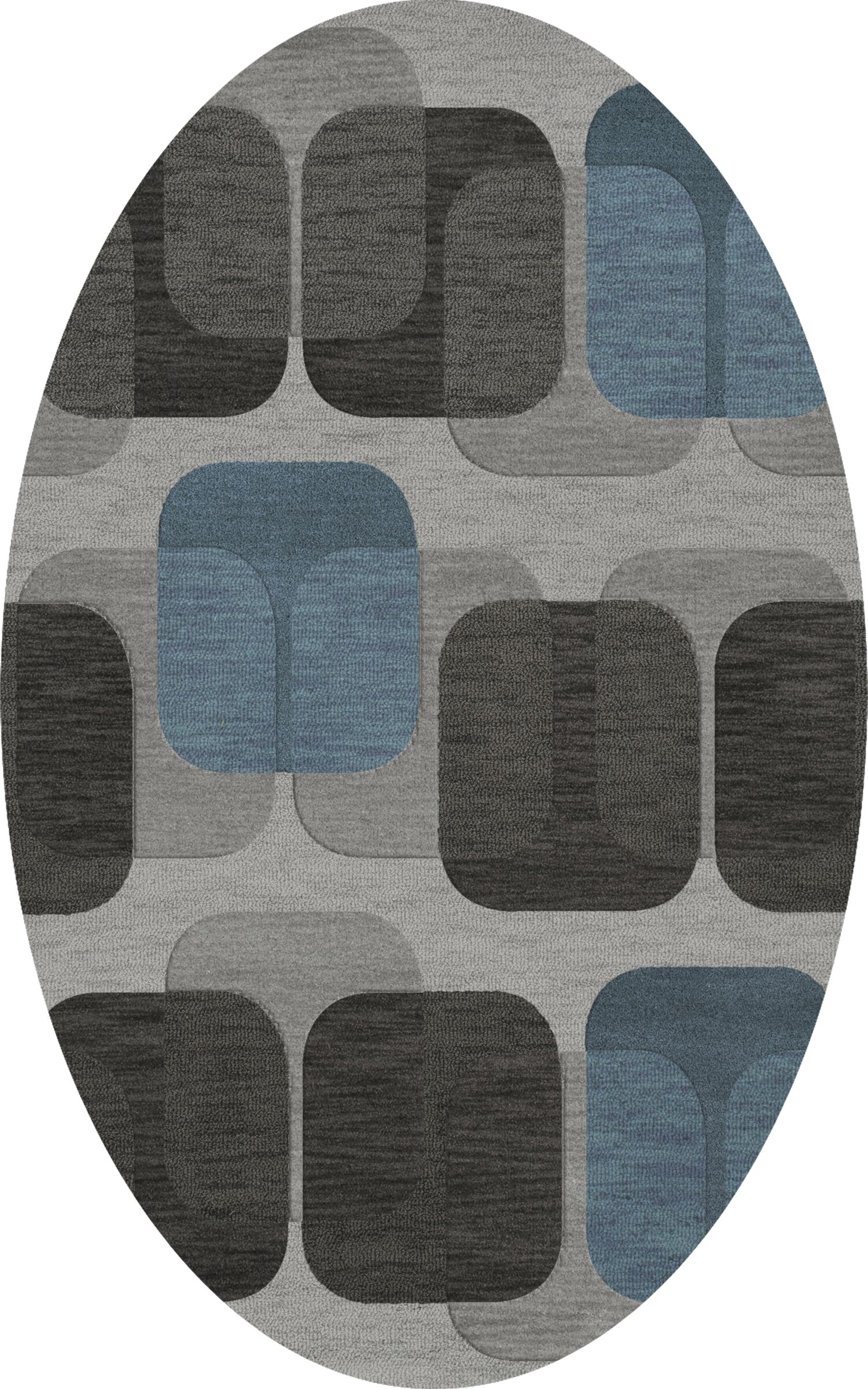 Bella Machine Woven Wool Gray/Black Area Rug Rug Size: Oval 4' x 6'
