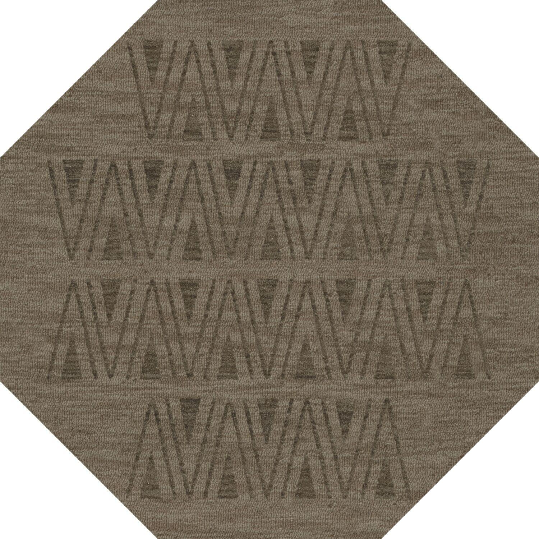 Bella Machine Woven Wool Gray Area Rug Rug Size: Octagon 12'