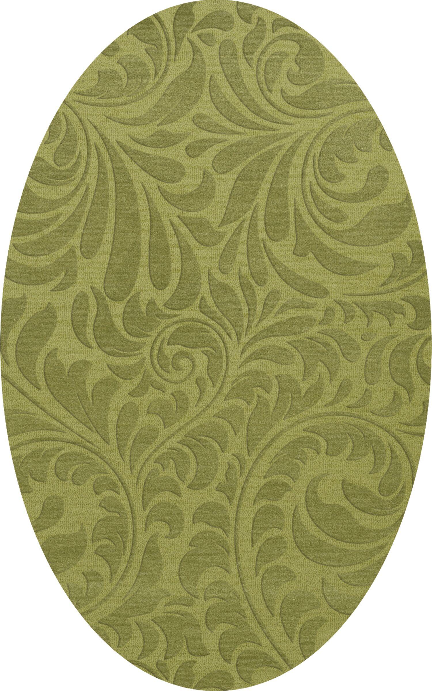 Bella Machine Woven Wool Green Pad Area Rug Rug Size: Oval 4' x 6'