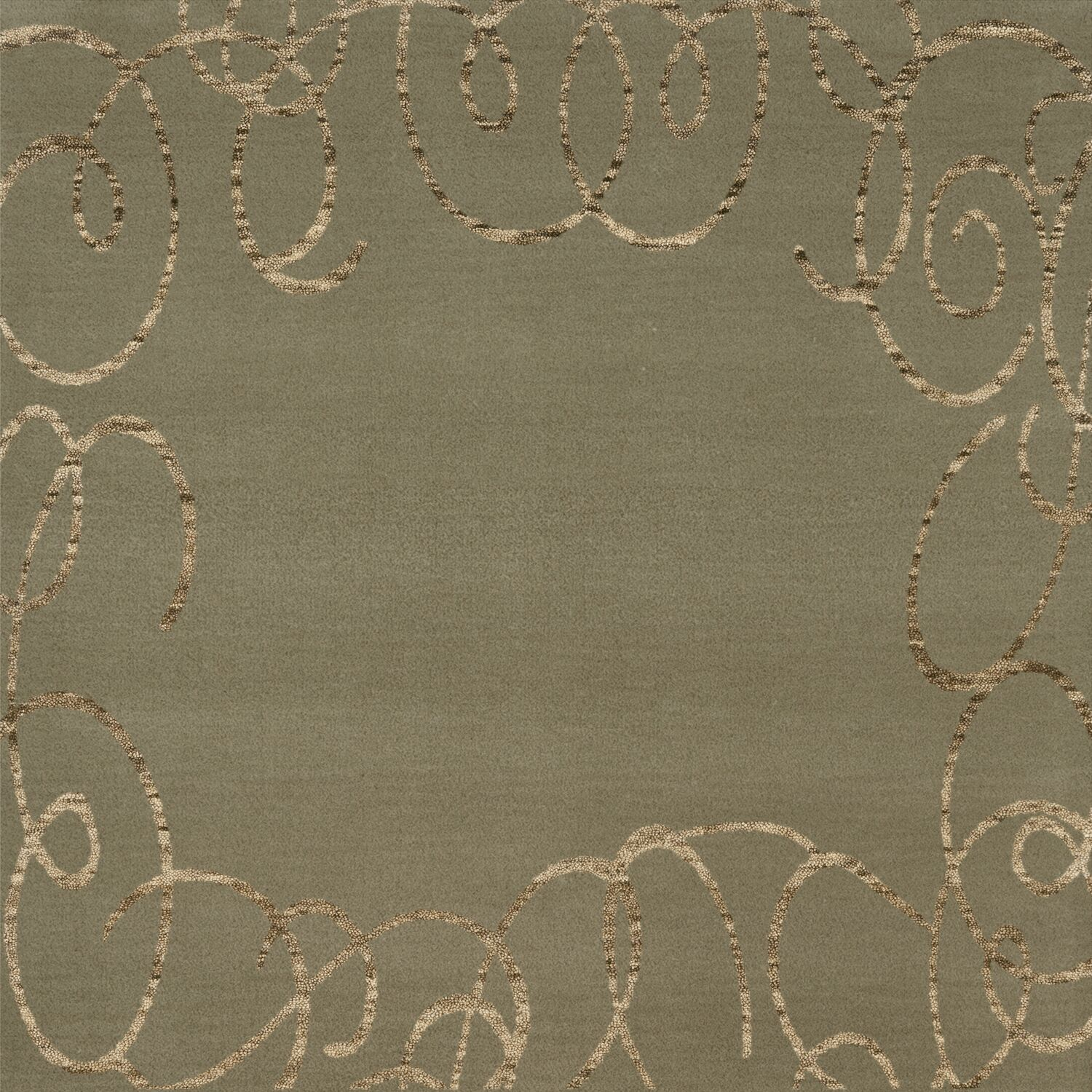Bella Machine Woven Wool Gray Area Rug Rug Size: Square 6'