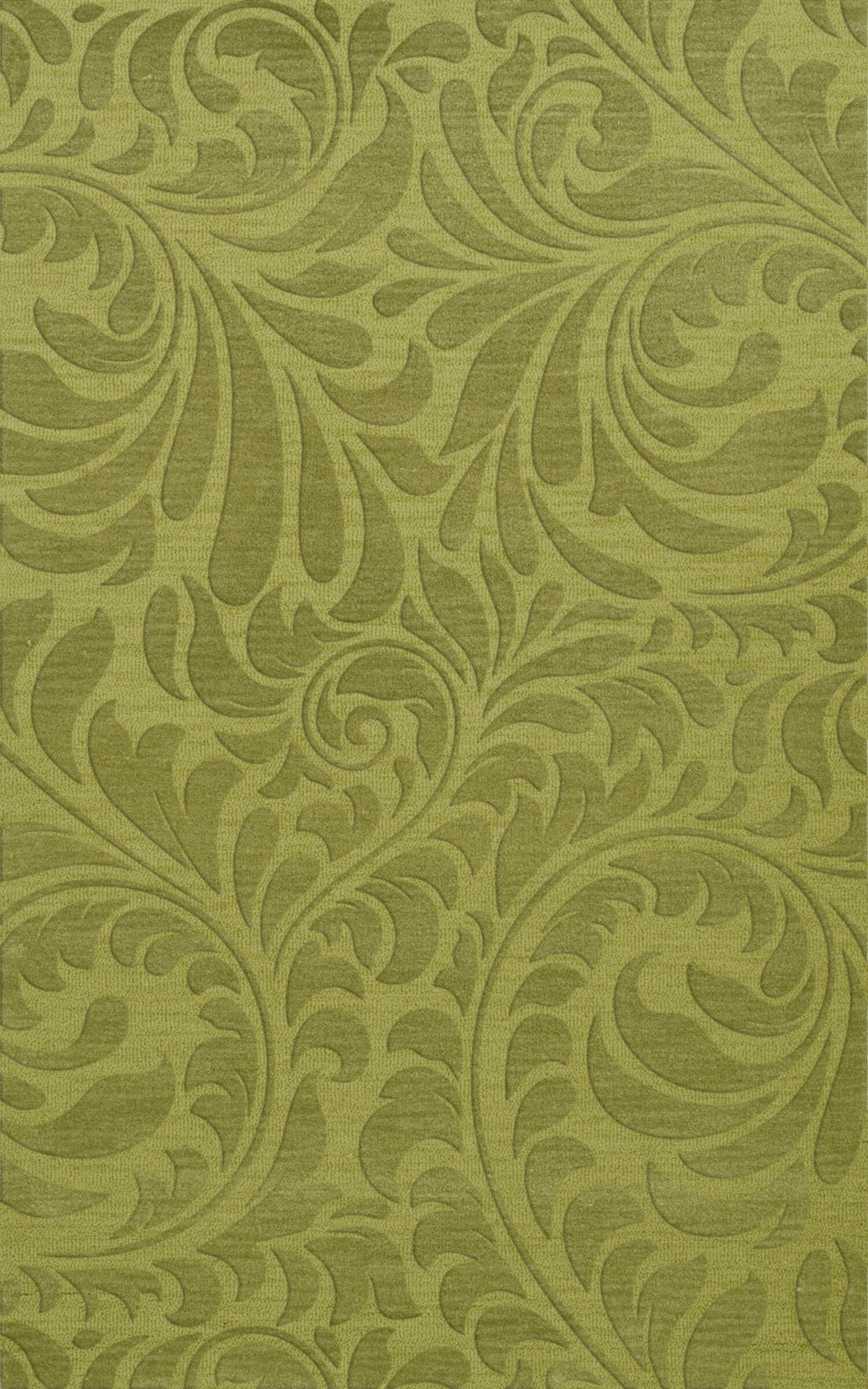 Bella Machine Woven Wool Green Pad Area Rug Rug Size: Rectangle 6' x 9'