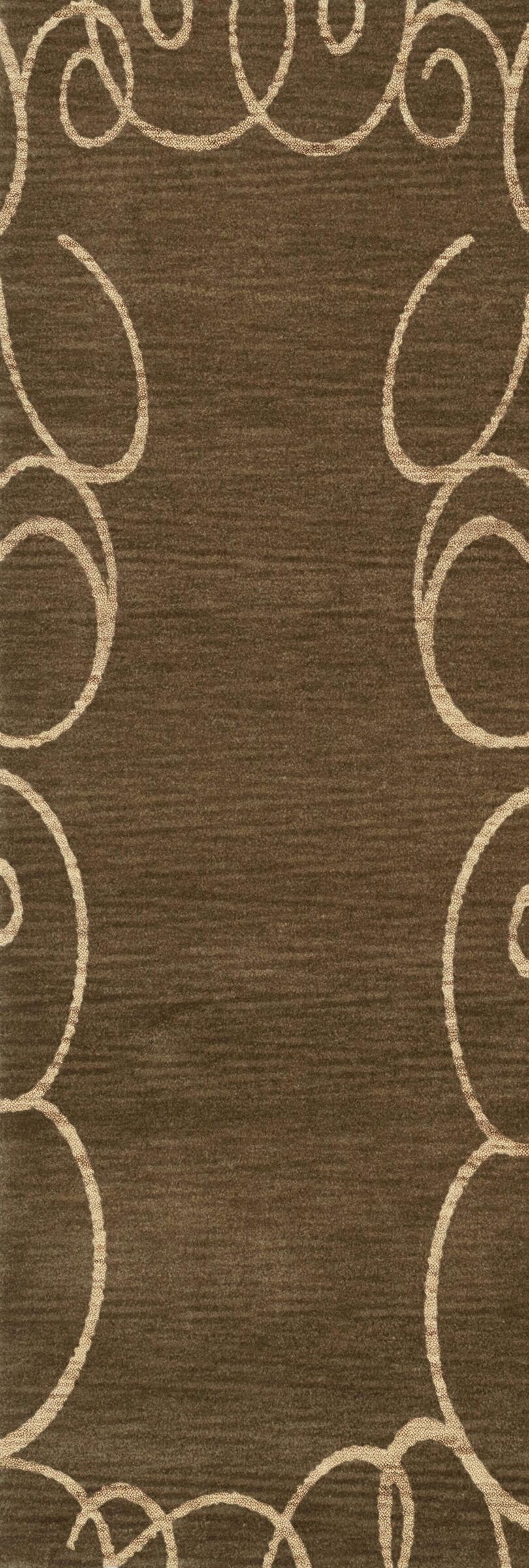Bella Machine Woven Wool Brown Area Rug Rug Size: Runner 2'6