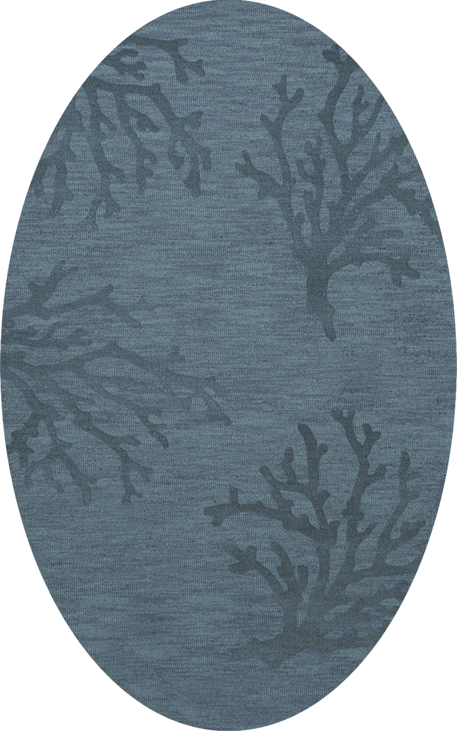 Bella Machine Woven Wool Blue Area Rug Rug Size: Oval 9' x 12'