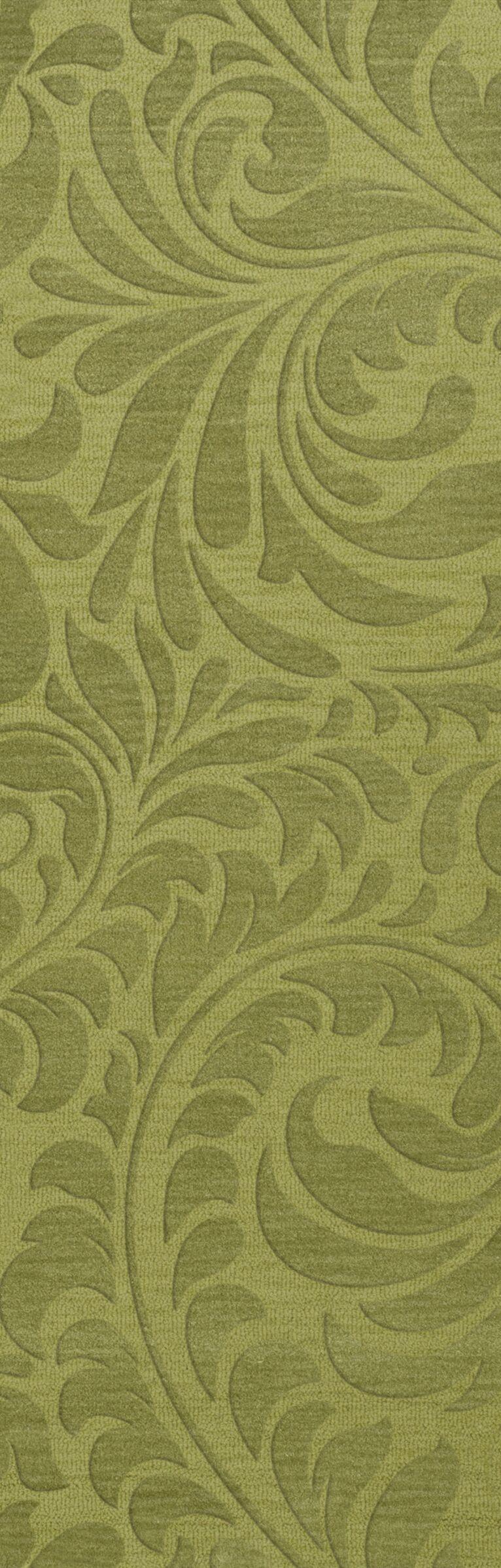 Bella Machine Woven Wool Green Pad Area Rug Rug Size: Runner 2'6
