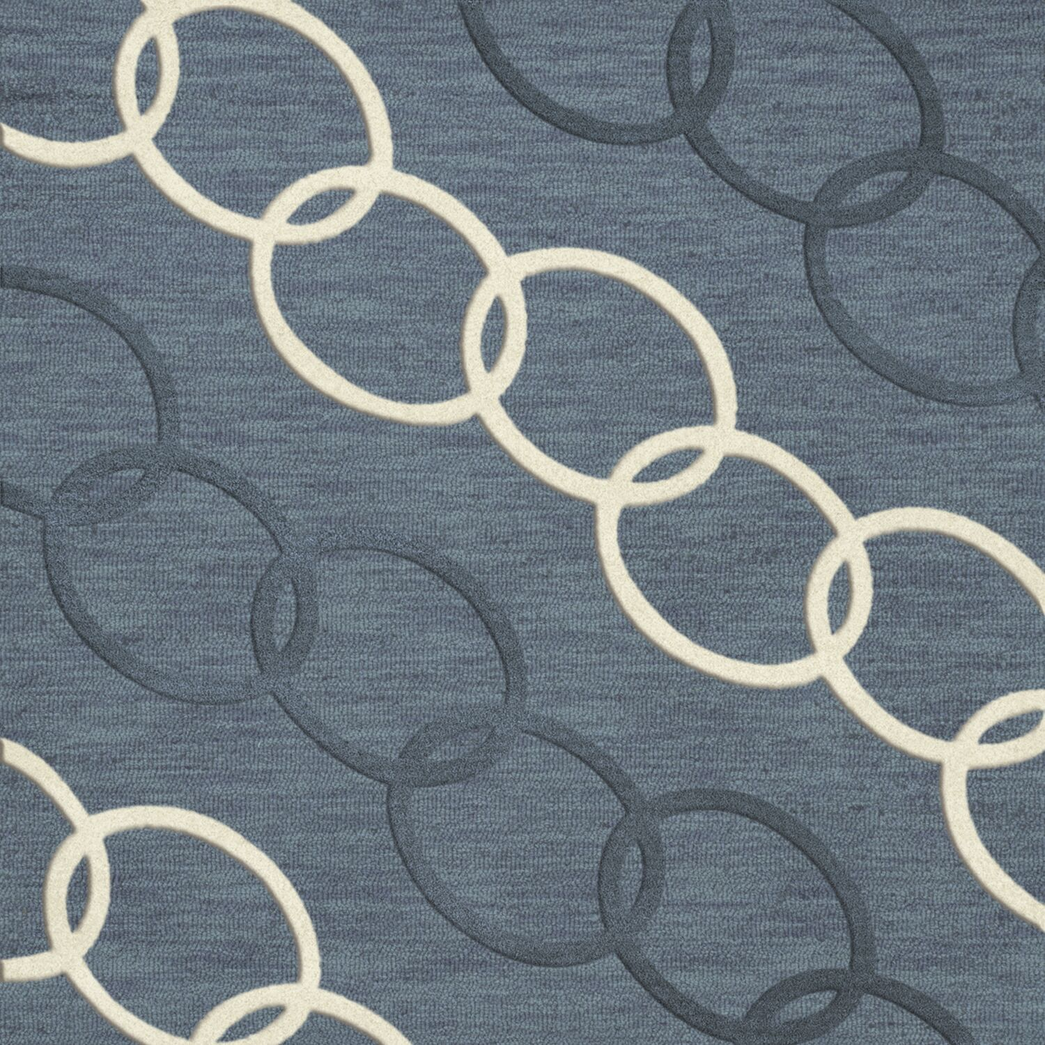 Bella Machine Woven Wool Blue Area Rug Rug Size: Square 6'