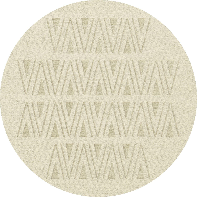 Bella Machine Woven Wool White Area Rug Rug Size: Round 4'