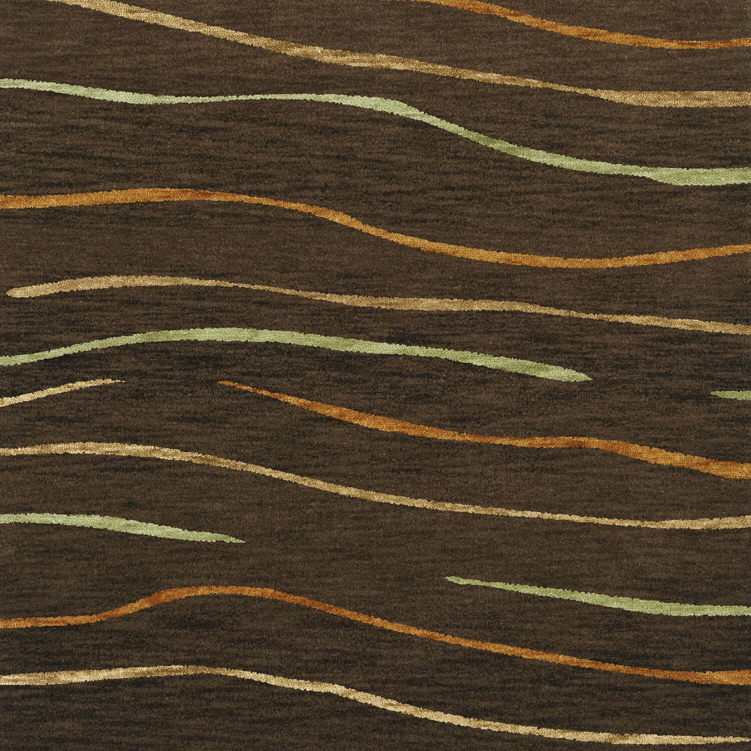 Bella Machine Woven Wool Brown Area Rug Rug Size: Square 6'