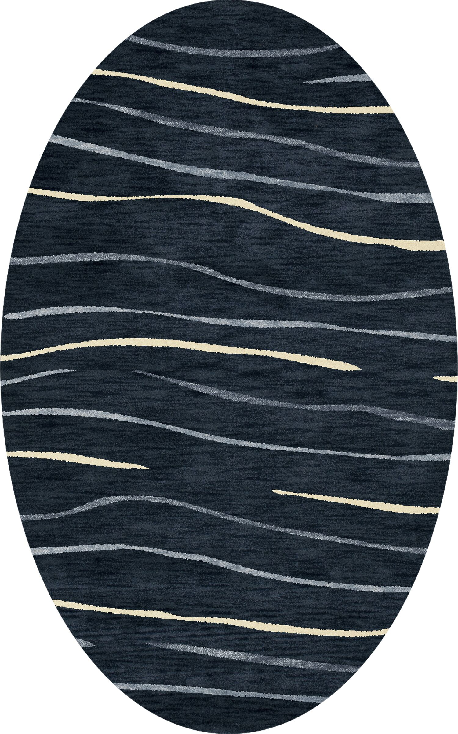 Bella Machine Woven Wool Blue Area Rug Rug Size: Oval 6' x 9'